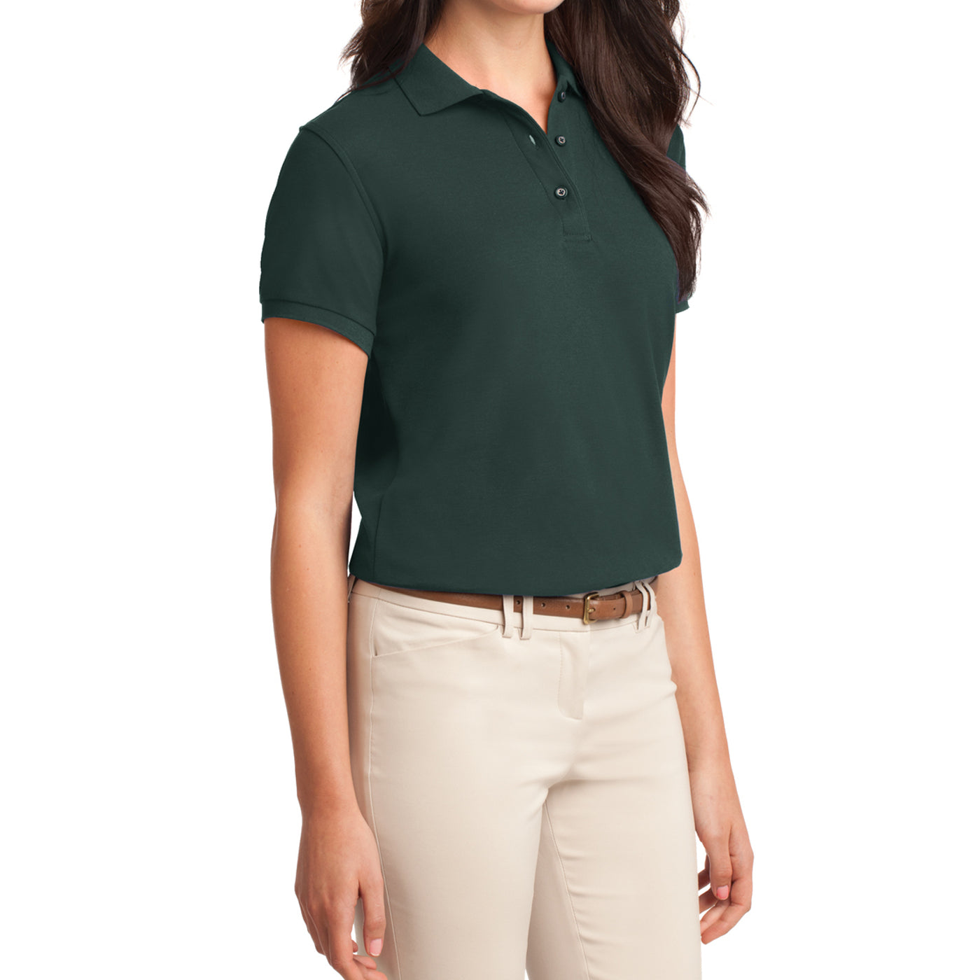 Womens Silk Touch Classic Polo Shirt - Dark Green - Side