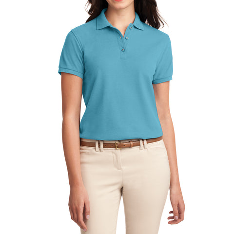 Womens Silk Touch Classic Polo Shirt - Maui Blue - Front