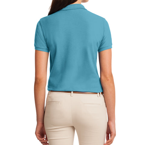 Womens Silk Touch Classic Polo Shirt - Maui Blue - Back