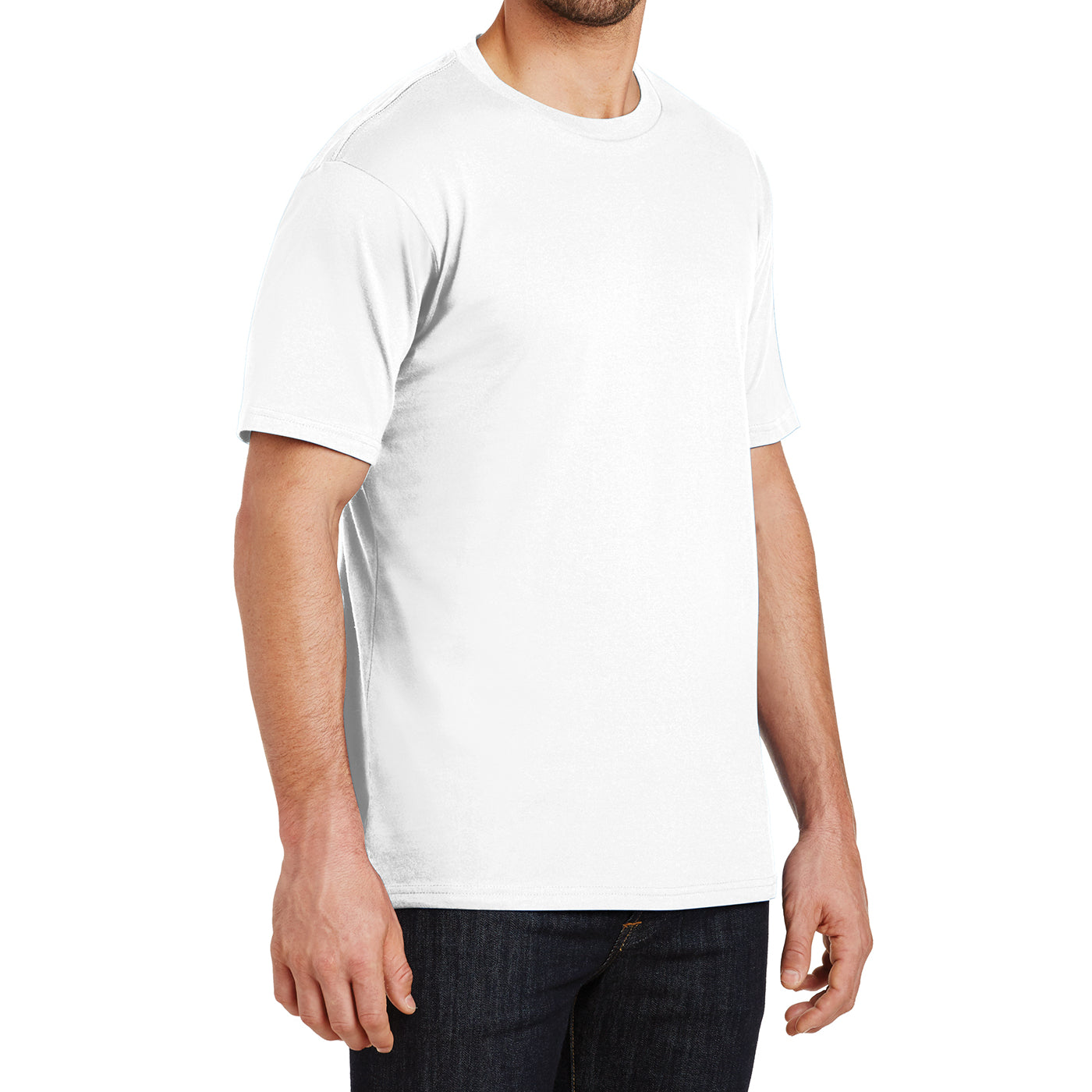 Mens Perfect Weight Crew Tee - Bright White - Side