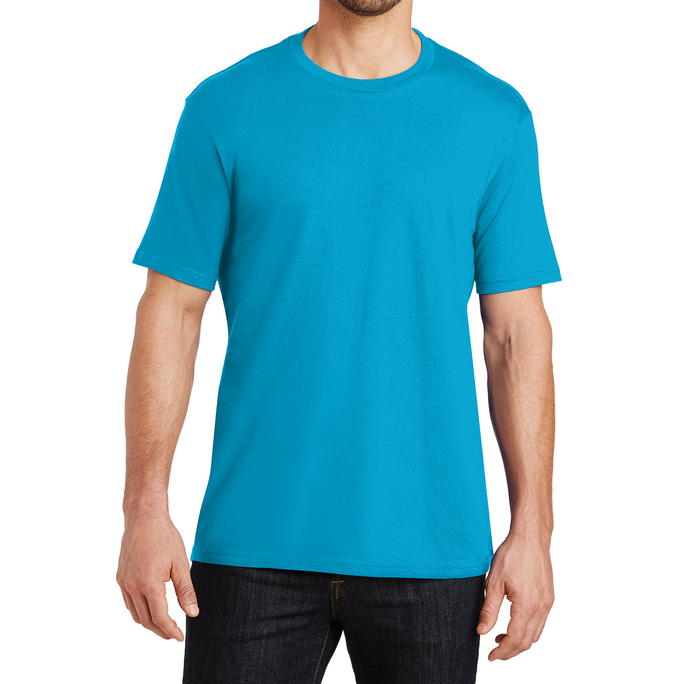 Mens Perfect Weight Crew Tee - Bright Turquoise - Front