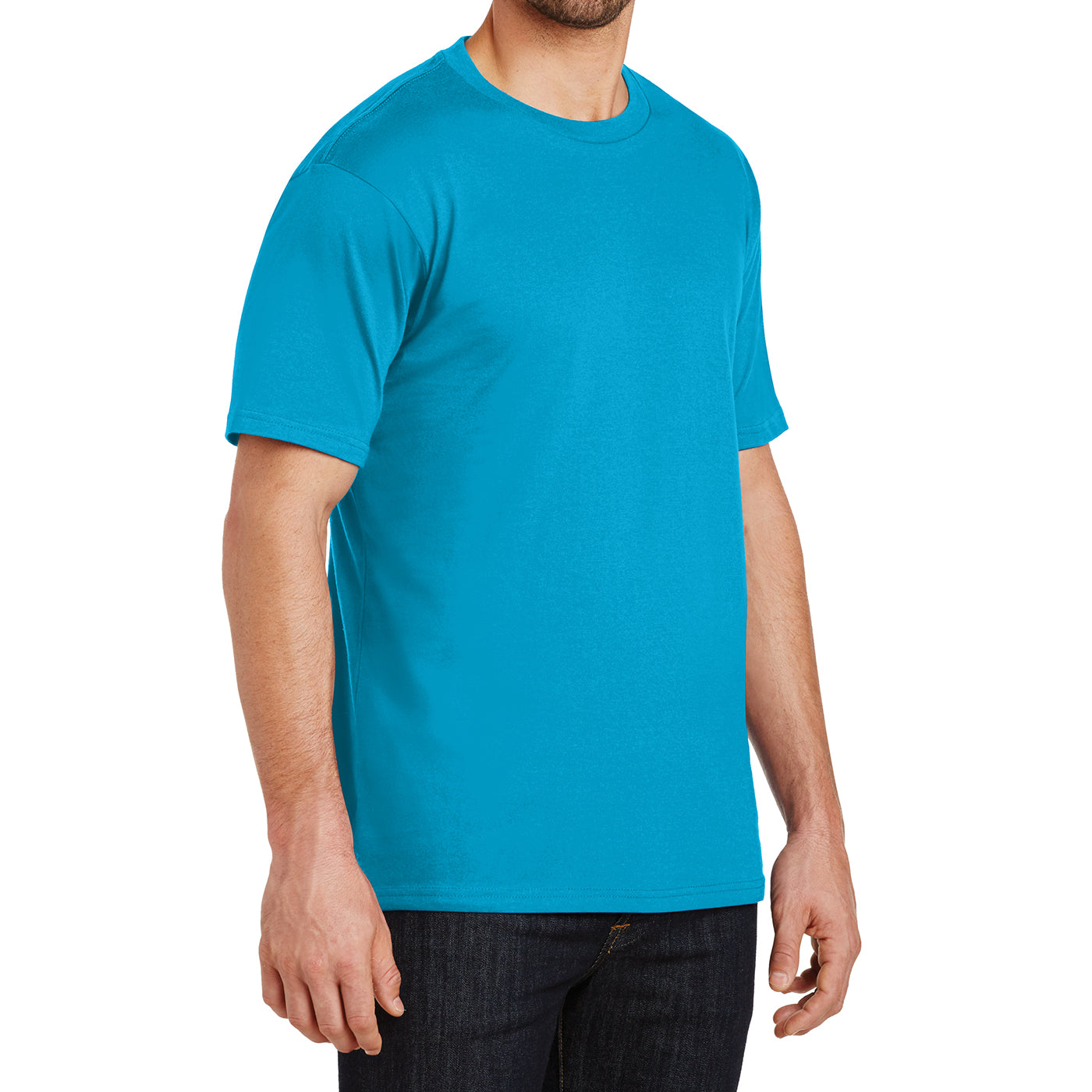 Mens Perfect Weight Crew Tee - Bright Turquoise - Side