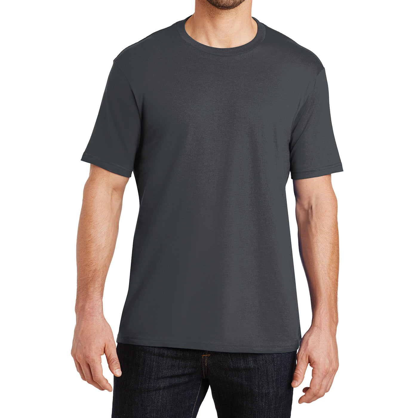 Mens Perfect Weight Crew Tee - Bright Charcoal - Front