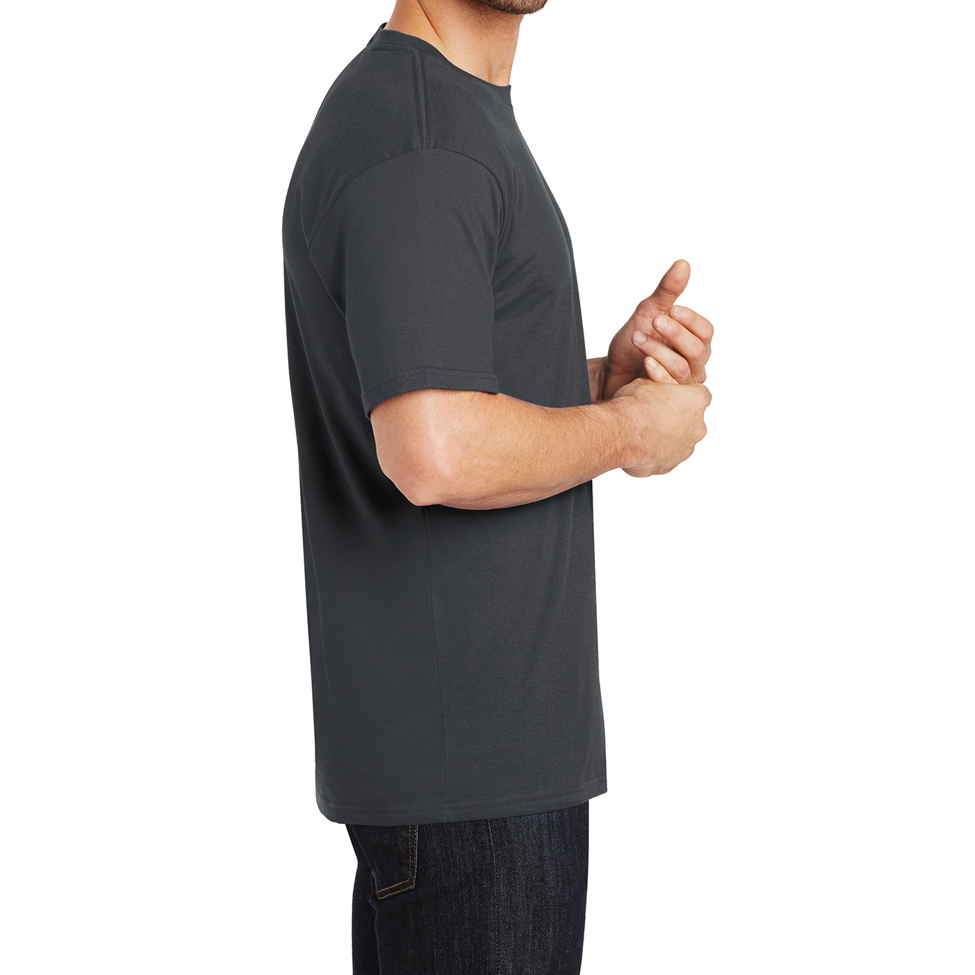 Mens Perfect Weight Crew Tee - Bright Charcoal - Side