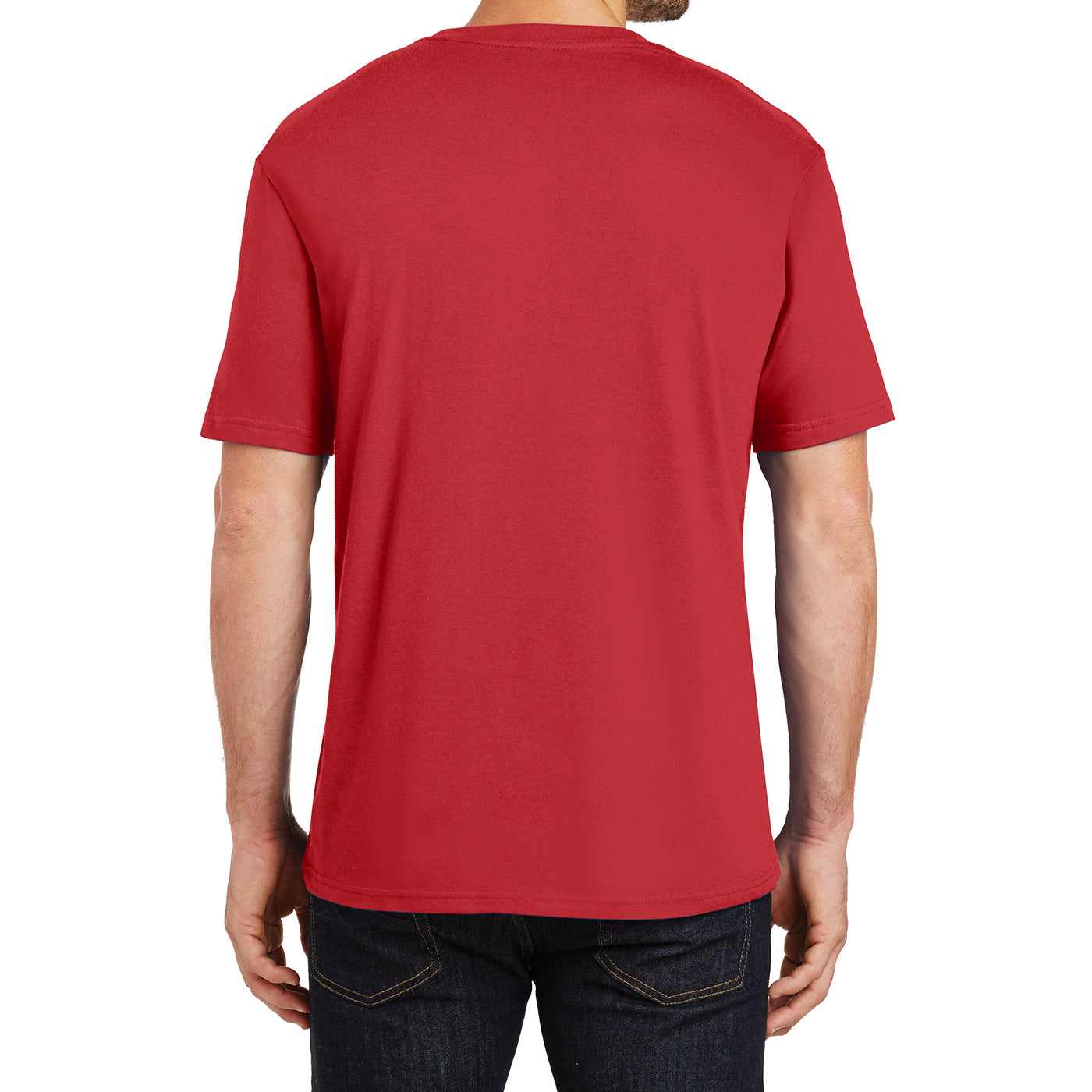 Mens Perfect Weight Crew Tee - Classic Red - Back