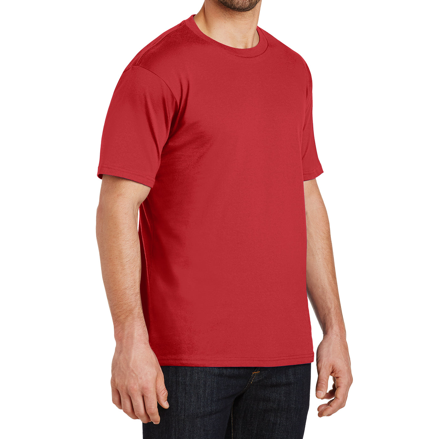 Mens Perfect Weight Crew Tee - Classic Red - Side