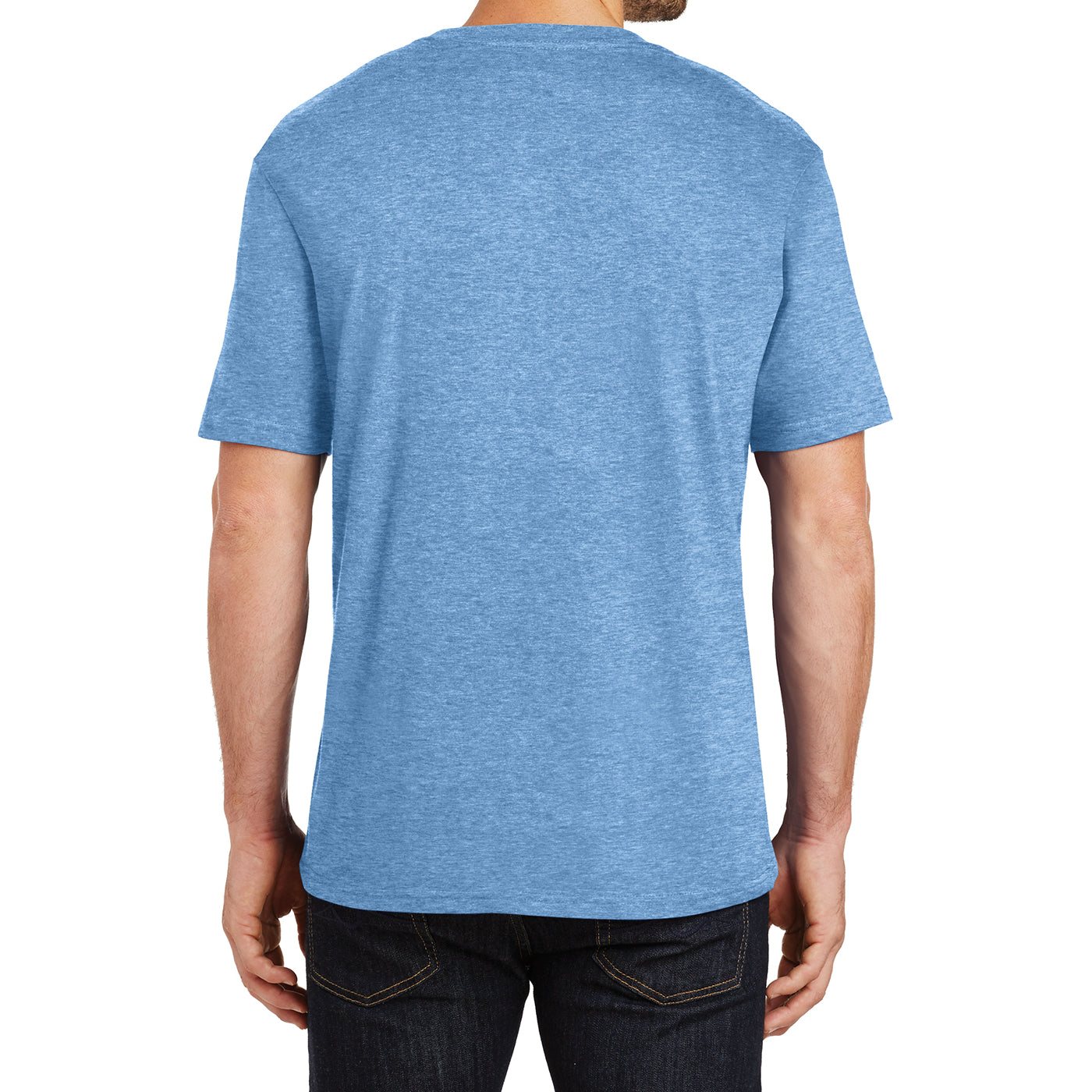 Mens Perfect Weight Crew Tee - Clean Denim - Back