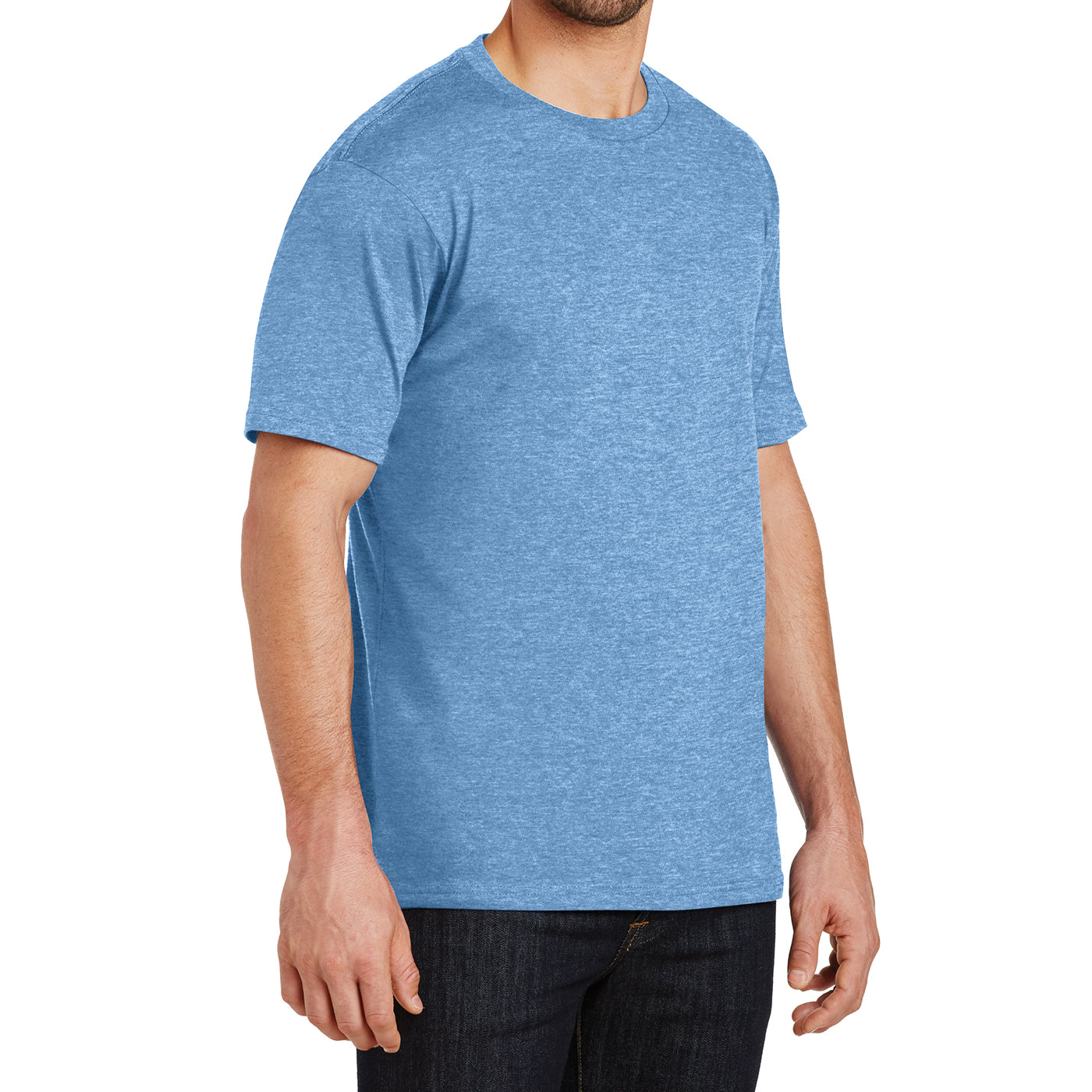 Mens Perfect Weight Crew Tee - Clean Denim- Side
