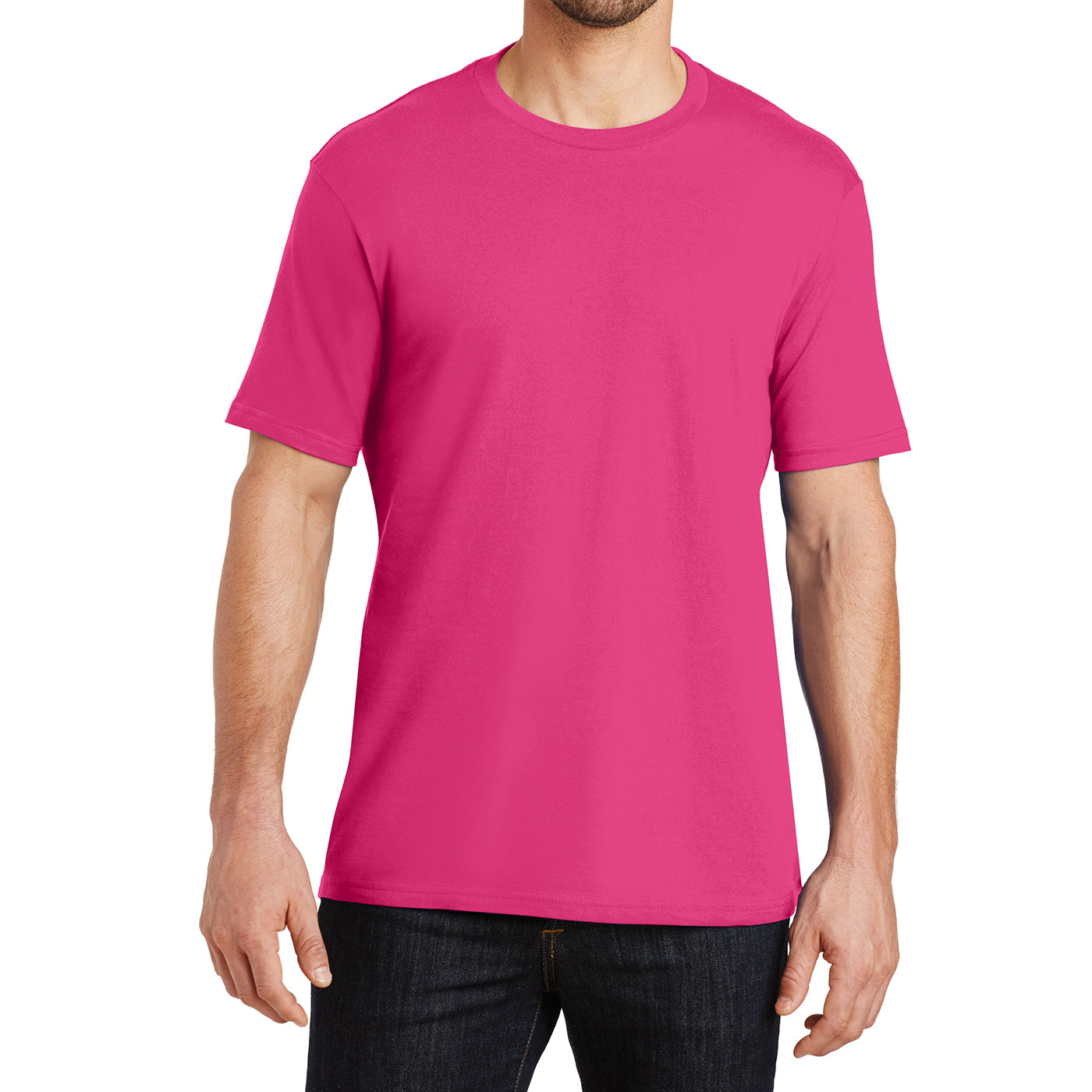 Mens Perfect Weight Crew Tee -  Dark Fuchsia - Front