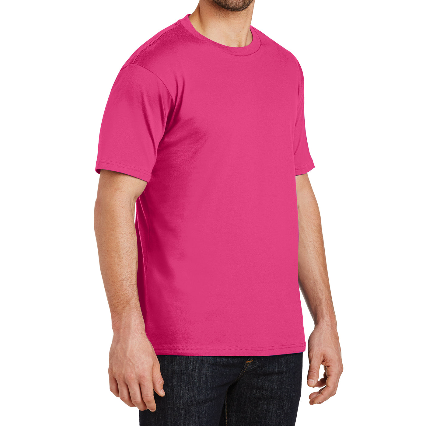 Mens Perfect Weight Crew Tee - Dark Fuchsia- Side
