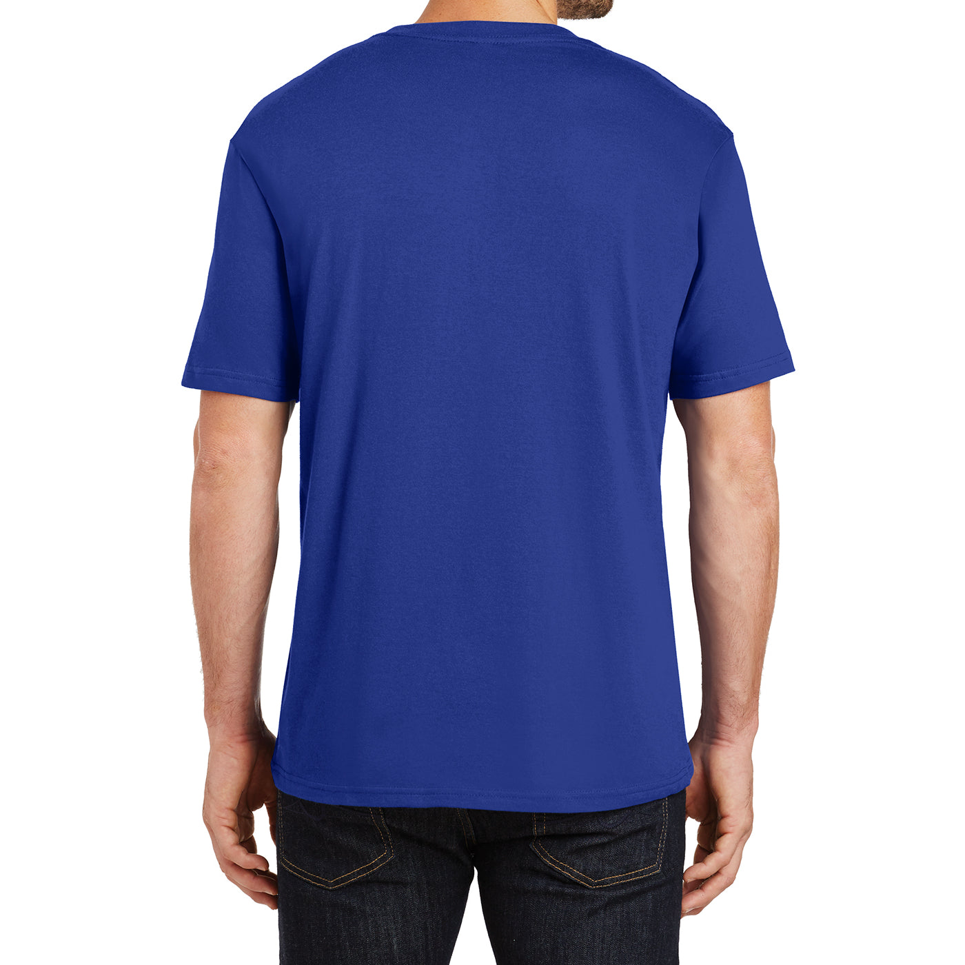 Mens Perfect Weight Crew Tee - Deep Royal - Back