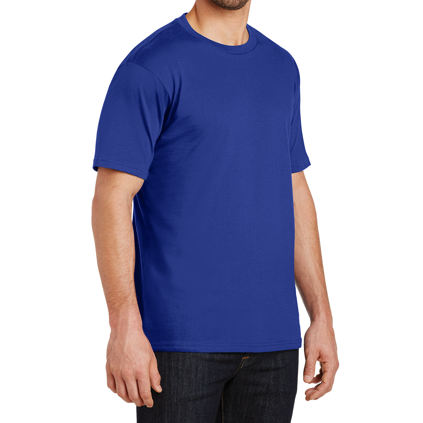 Mens Perfect Weight Crew Tee - Deep Royal- Side