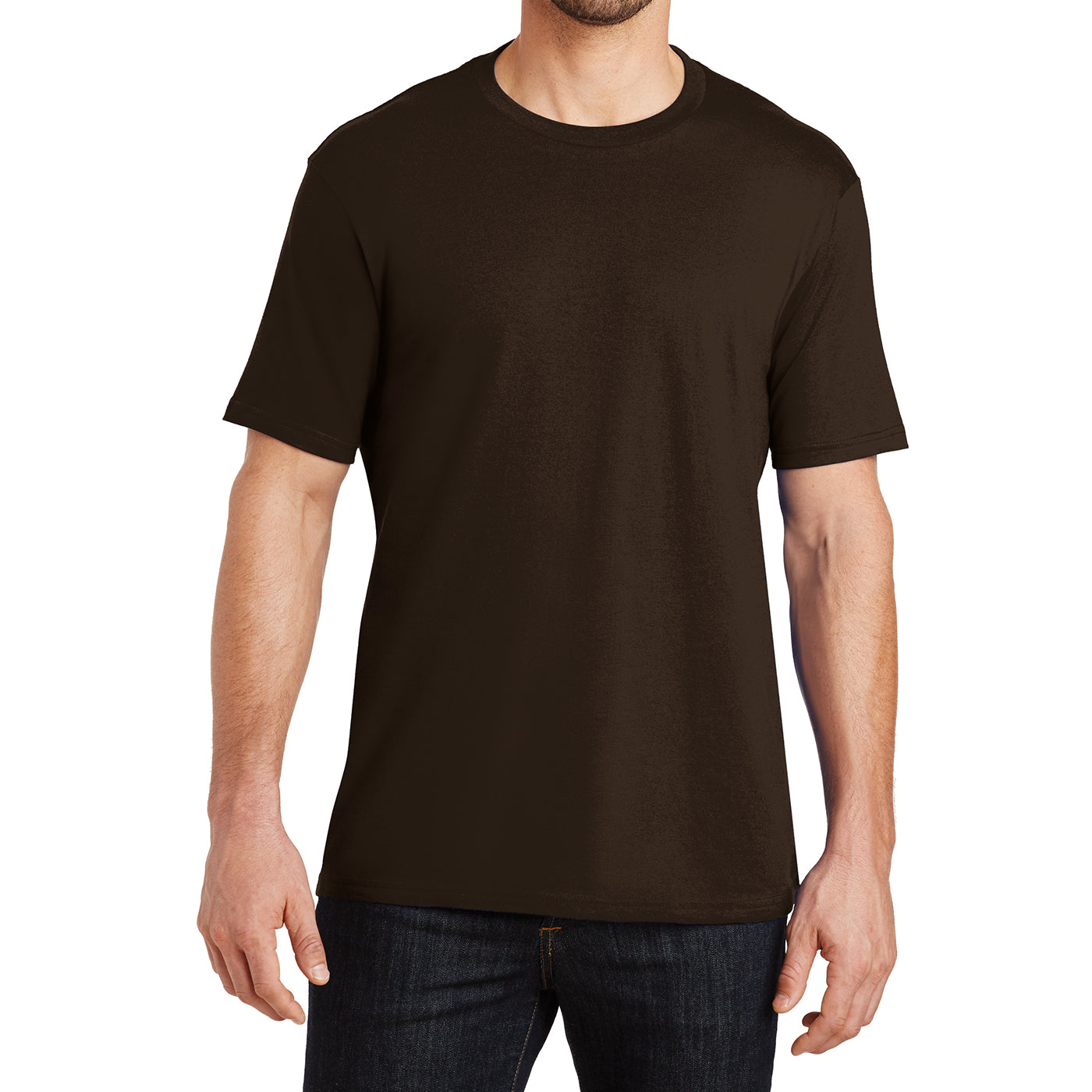 Mens Perfect Weight Crew Tee -  Espresso - Front