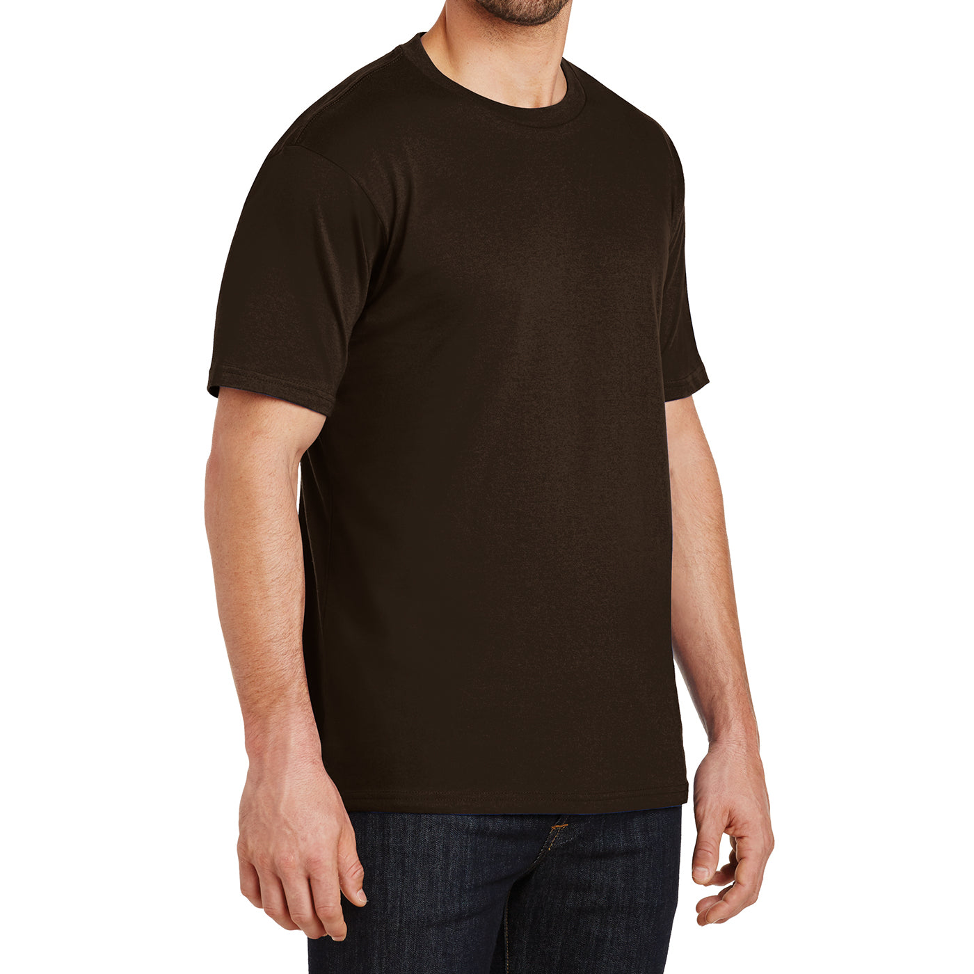Mens Perfect Weight Crew Tee - Espresso- Side