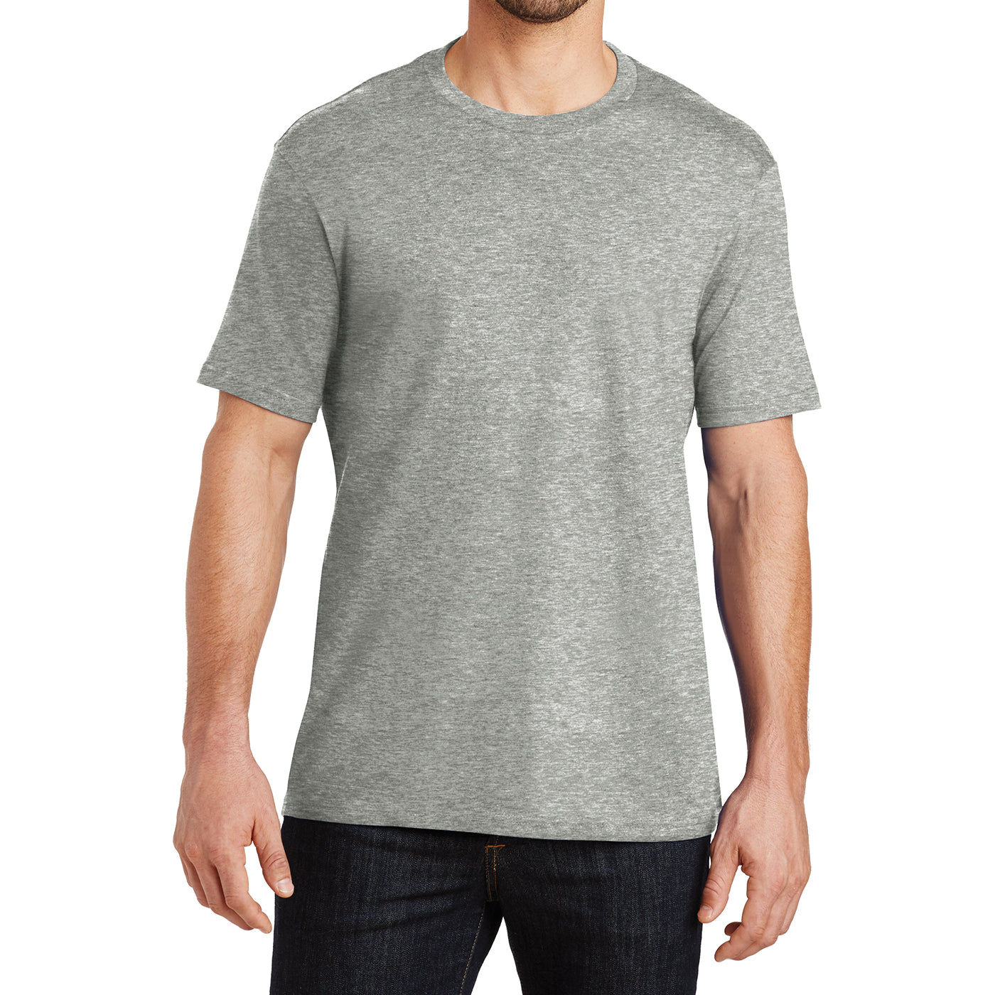 Mens Perfect Weight Crew Tee -  Heathered Steel - Front