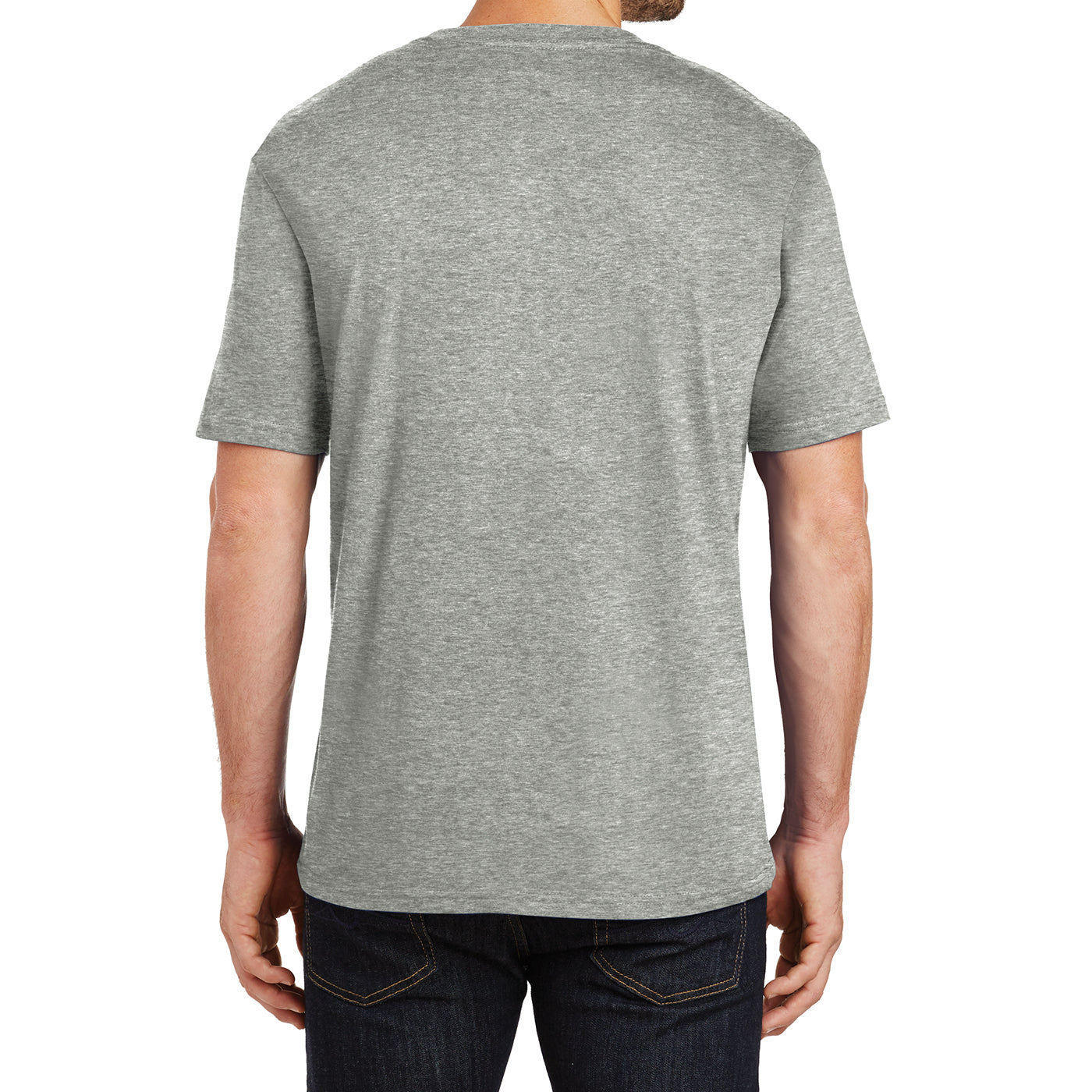 Mens Perfect Weight Crew Tee - Heathered Steel - Back