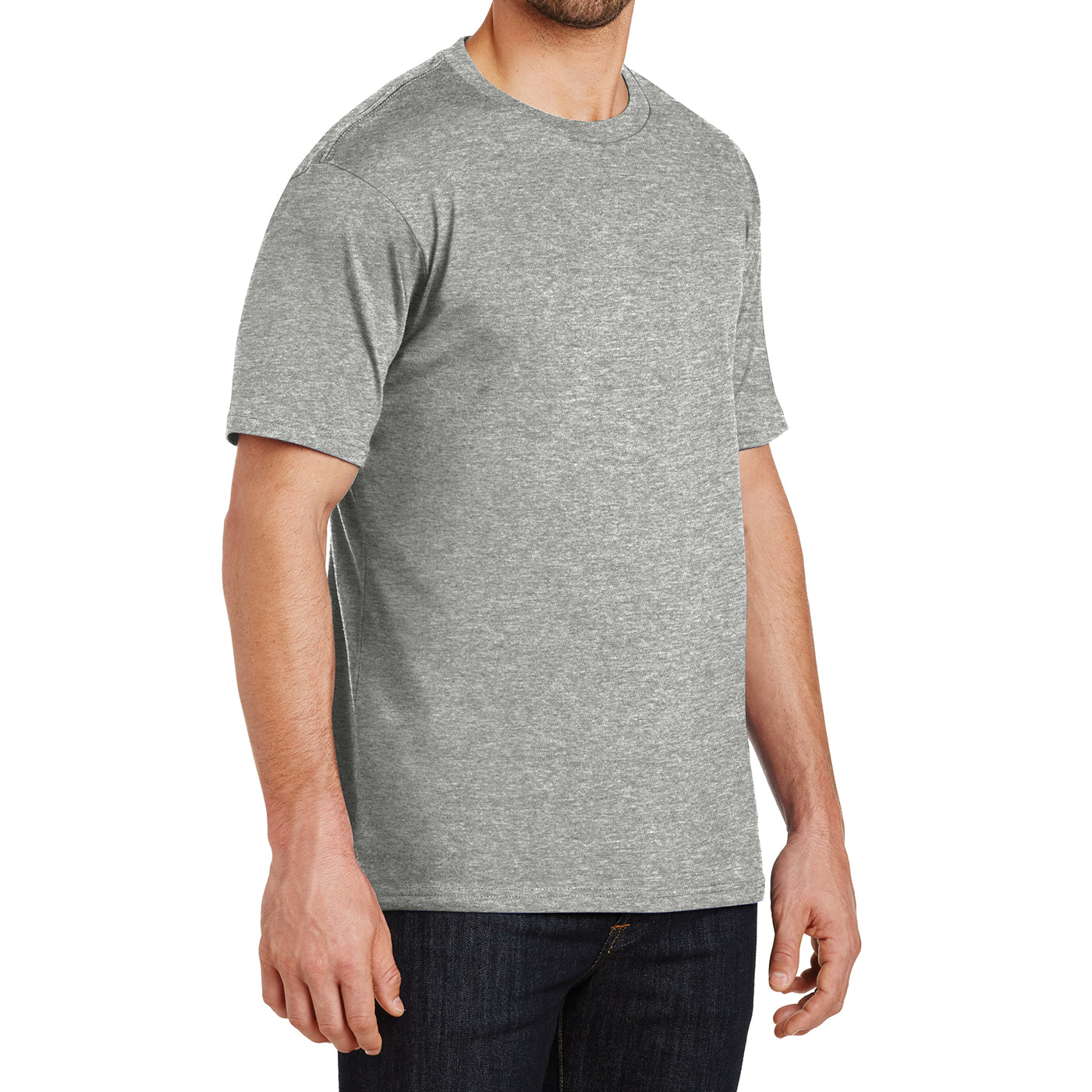 Mens Perfect Weight Crew Tee - Heathered Steel - Side