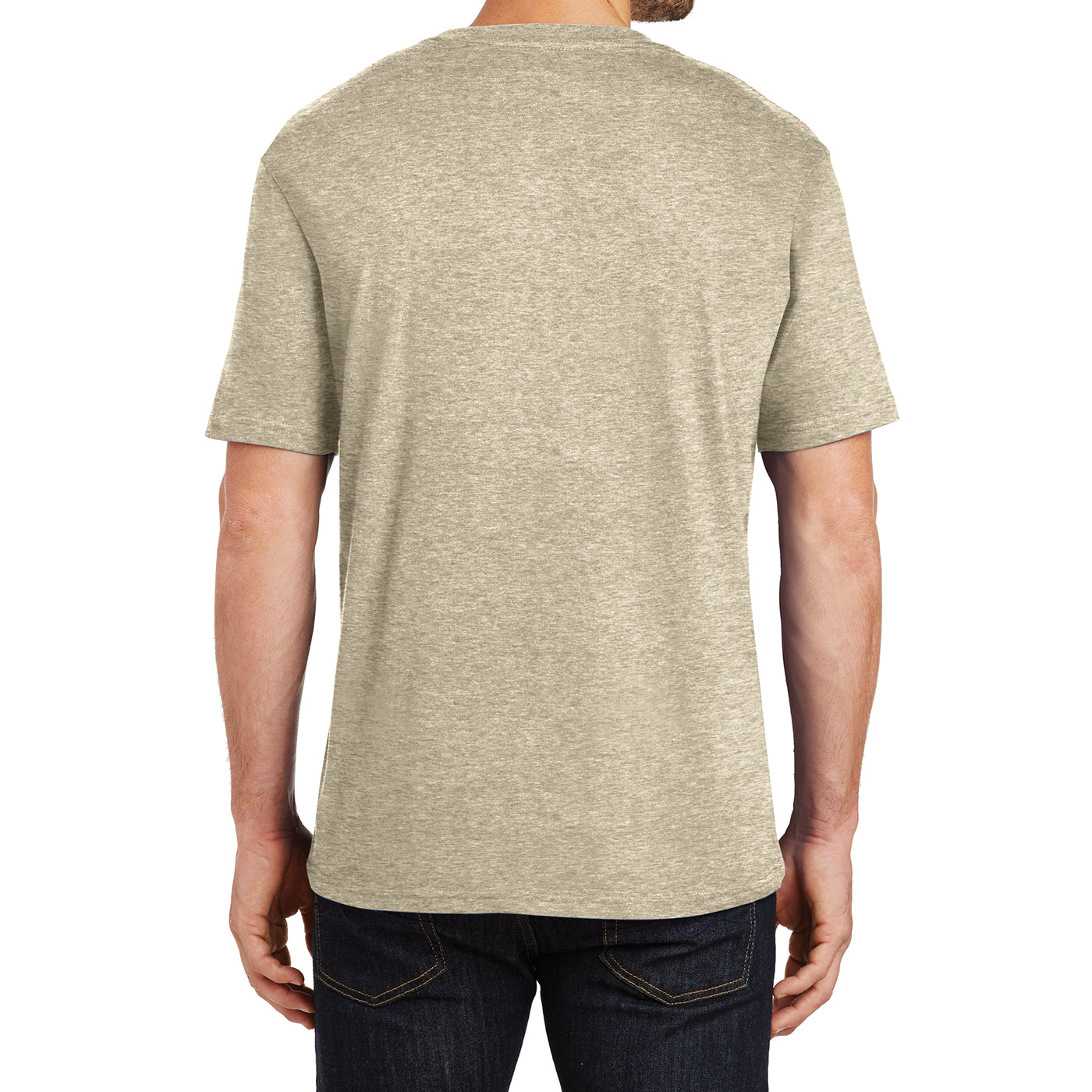 Mens Perfect Weight Crew Tee - Heathered Latte - Back