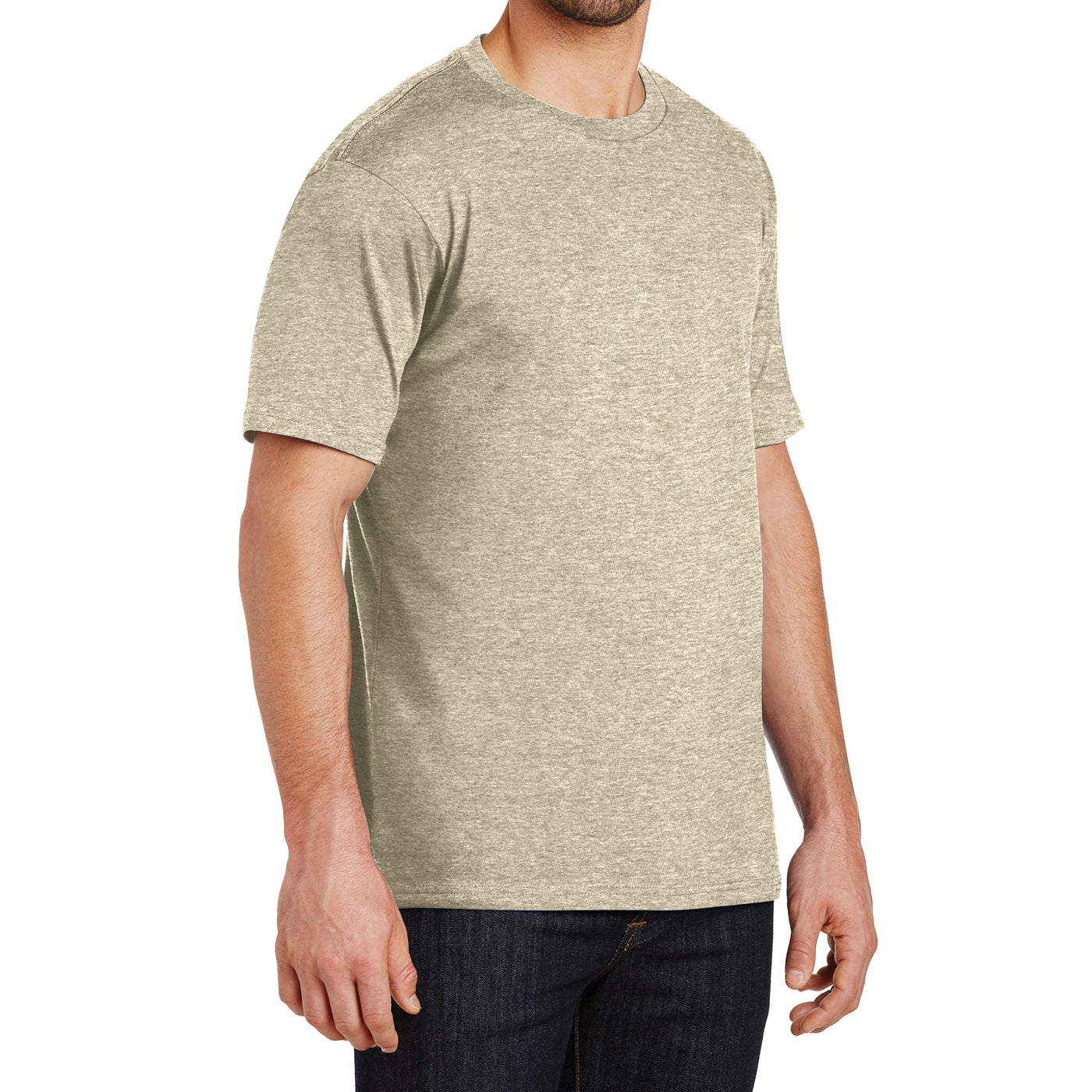 Mens Perfect Weight Crew Tee - Heathered Latte - Side