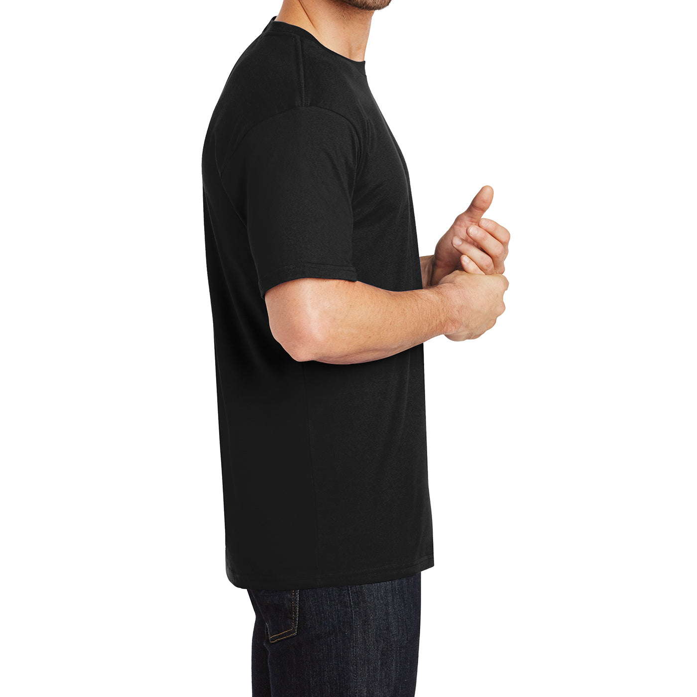 Mens Perfect Weight Crew Tee - Jet Black - Side