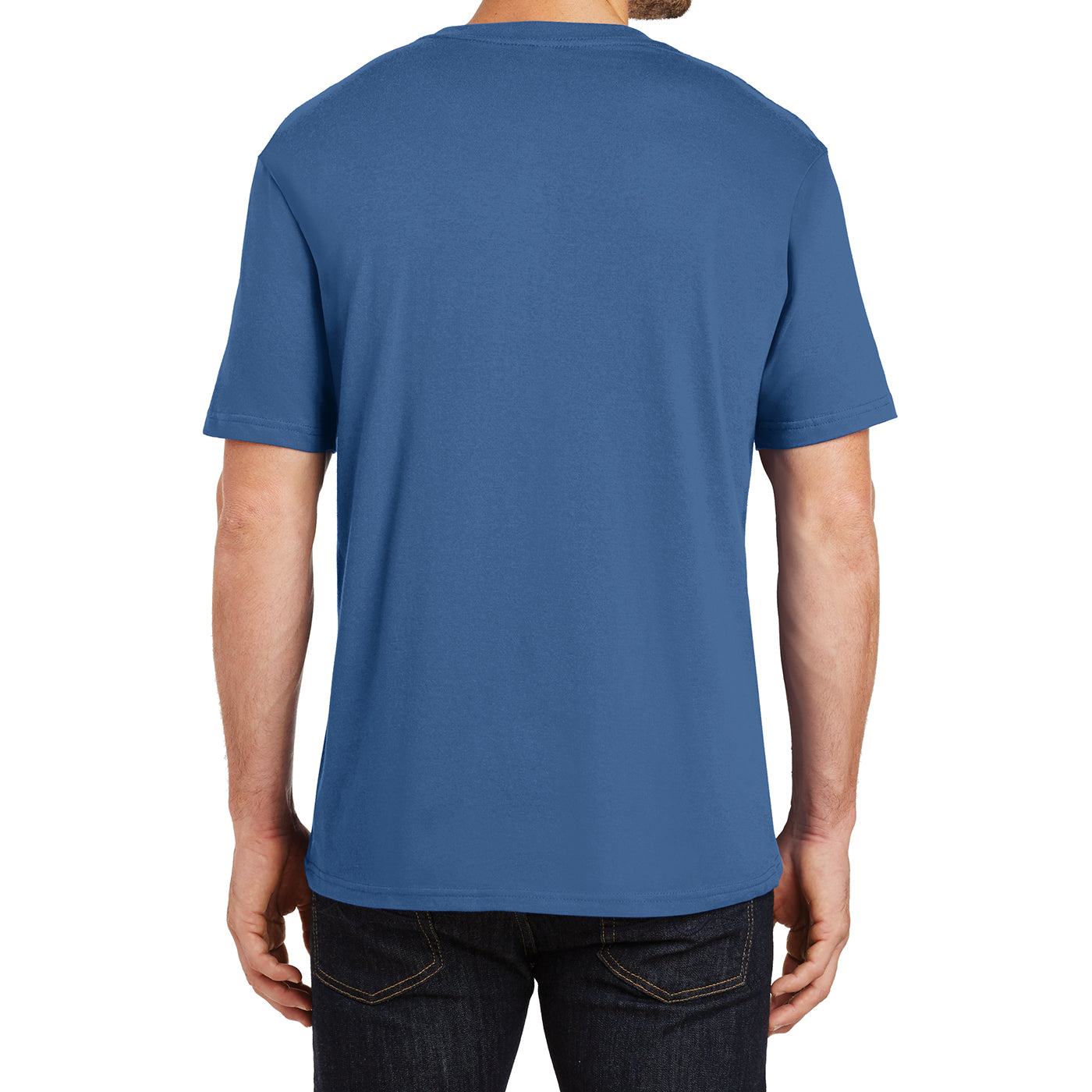 Mens Perfect Weight Crew Tee - Maritime Blue - Back