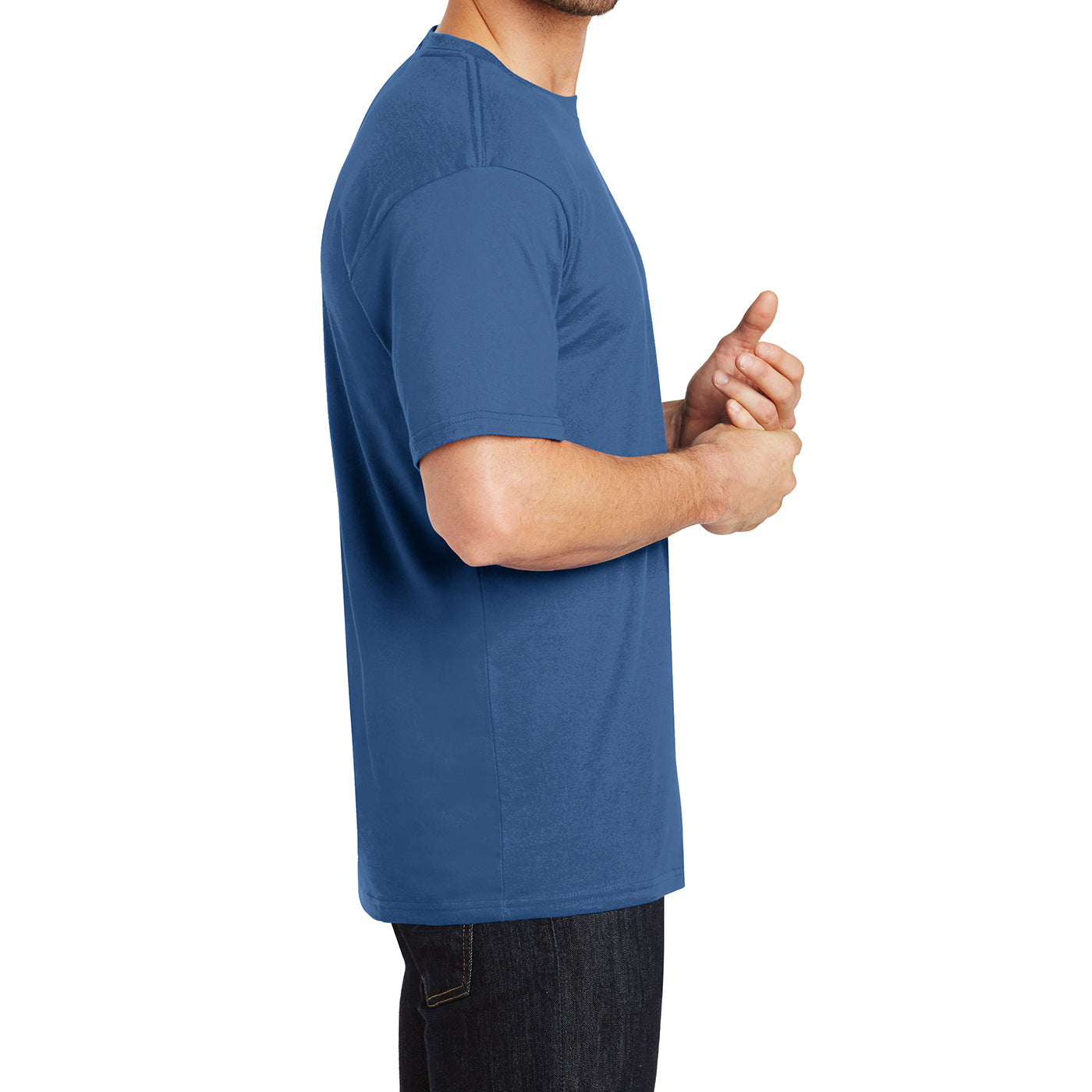 Mens Perfect Weight Crew Tee - Maritime Blue - Side