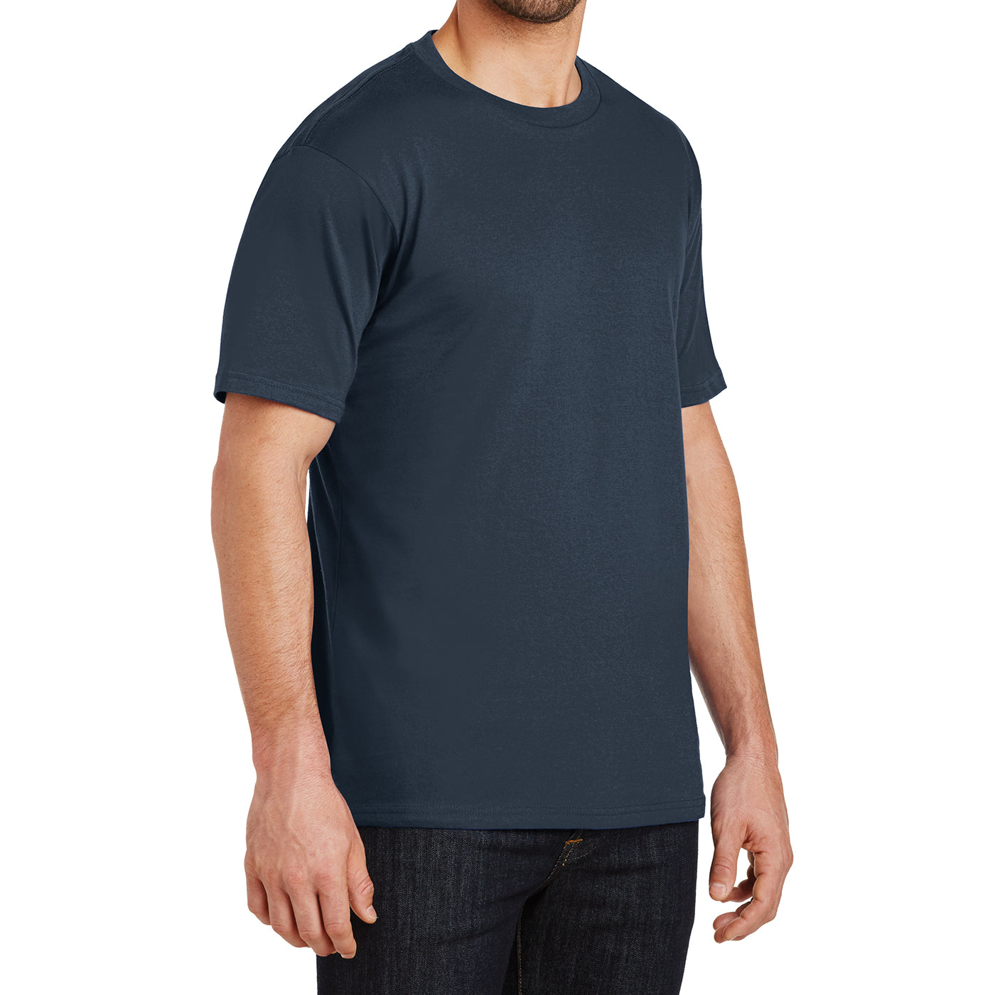 Mens Perfect Weight Crew Tee - New Navy - Side