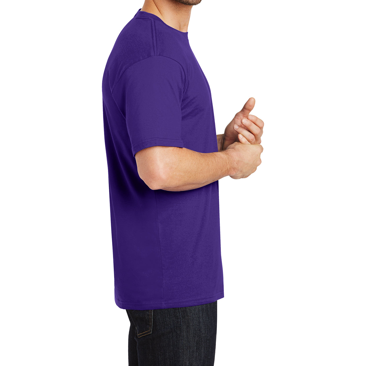 Mens Perfect Weight Crew Tee - Purple - Side