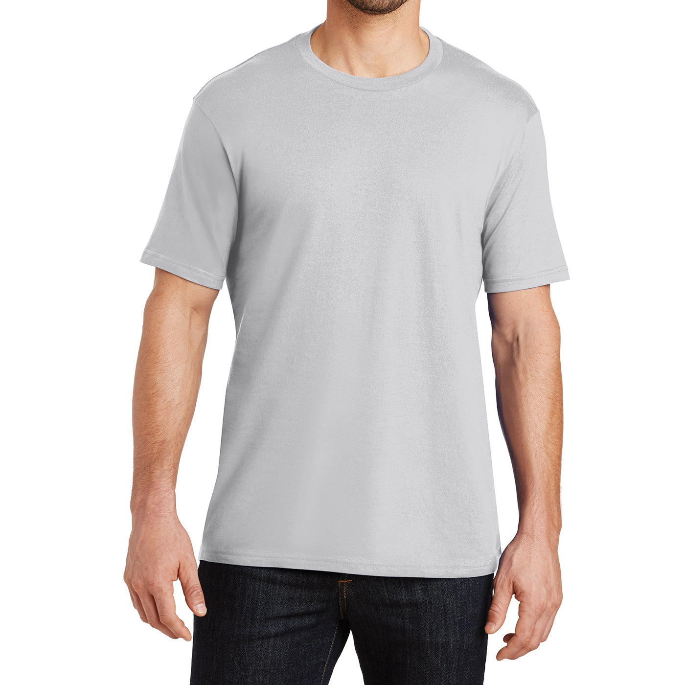 Mens Perfect Weight Crew Tee - Silver - Front