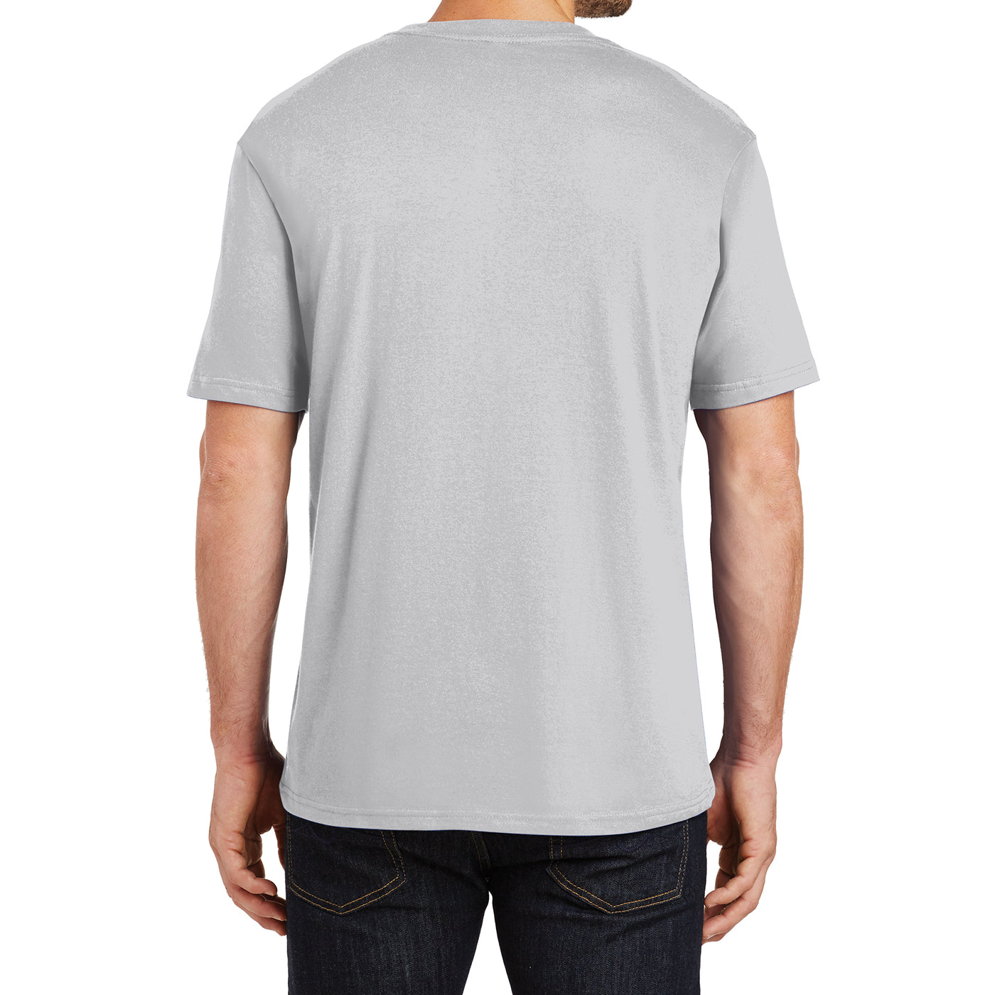 Mens Perfect Weight Crew Tee - Silver - Back