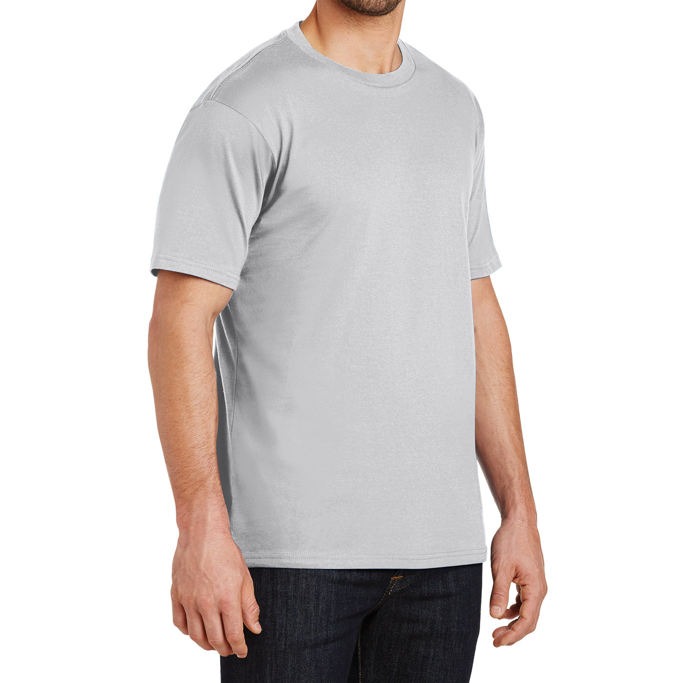Mens Perfect Weight Crew Tee - Silver - Side