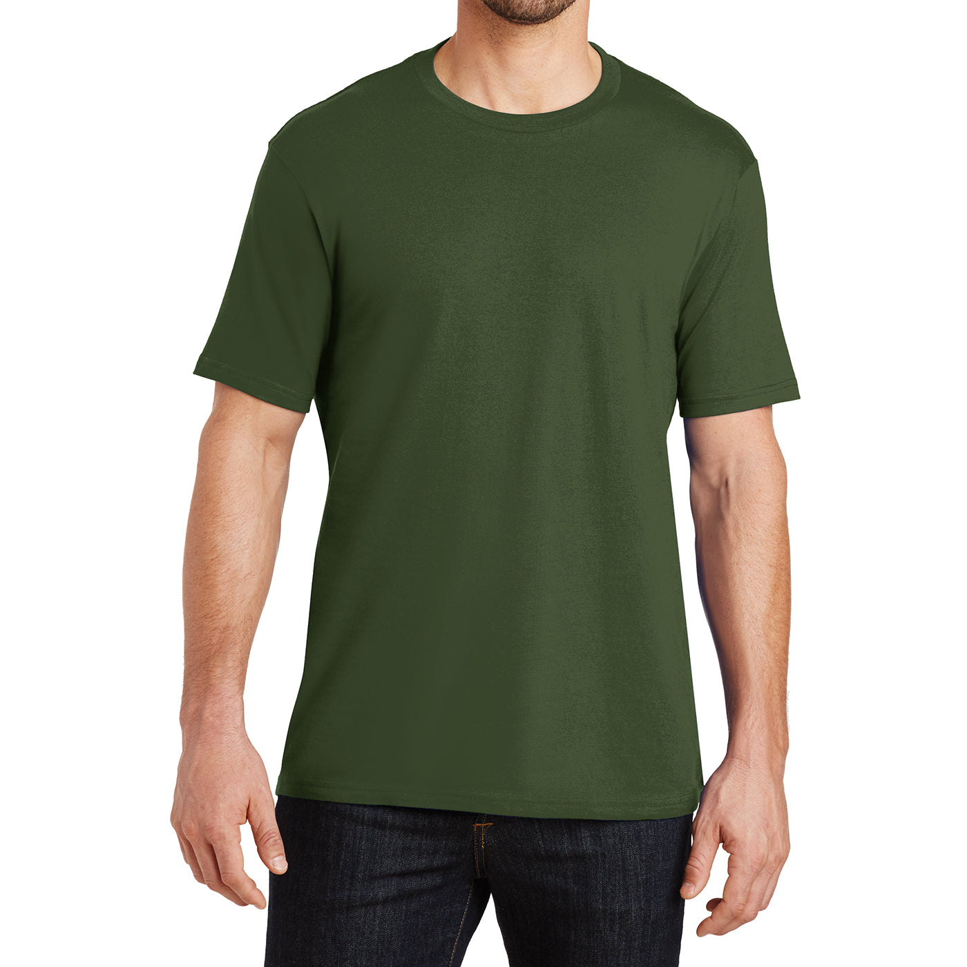 Mens Perfect Weight Crew Tee - Thyme Green - Front