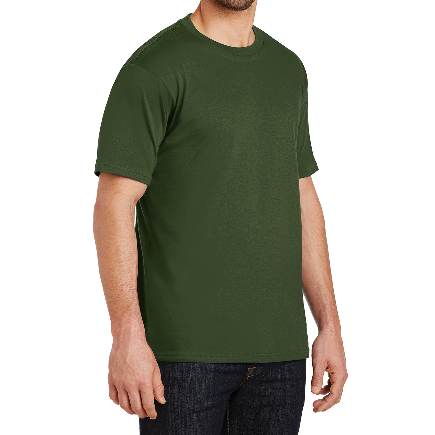Mens Perfect Weight Crew Tee - Thyme Green - Side