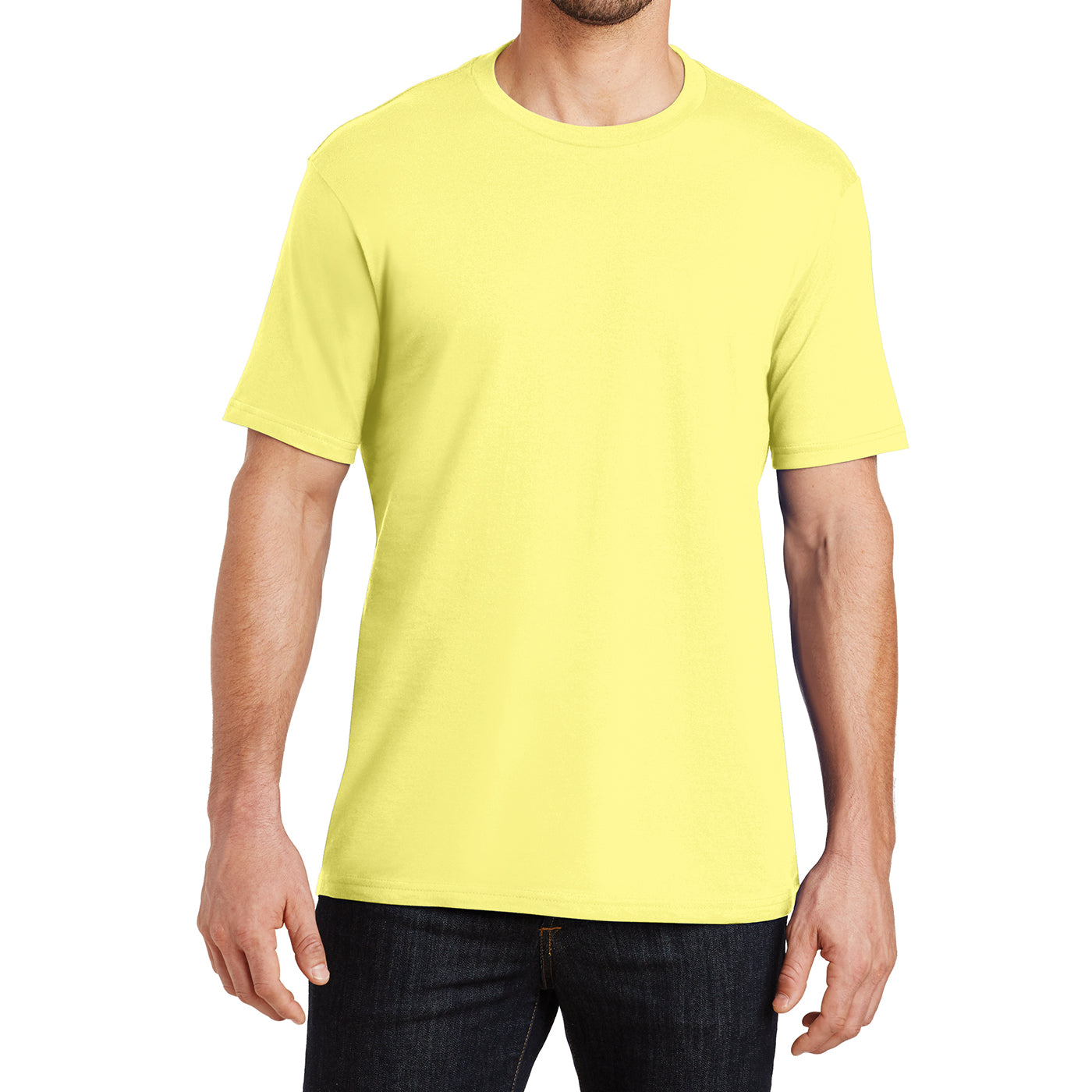 Mens Perfect Weight Crew Tee - Yellow - Front