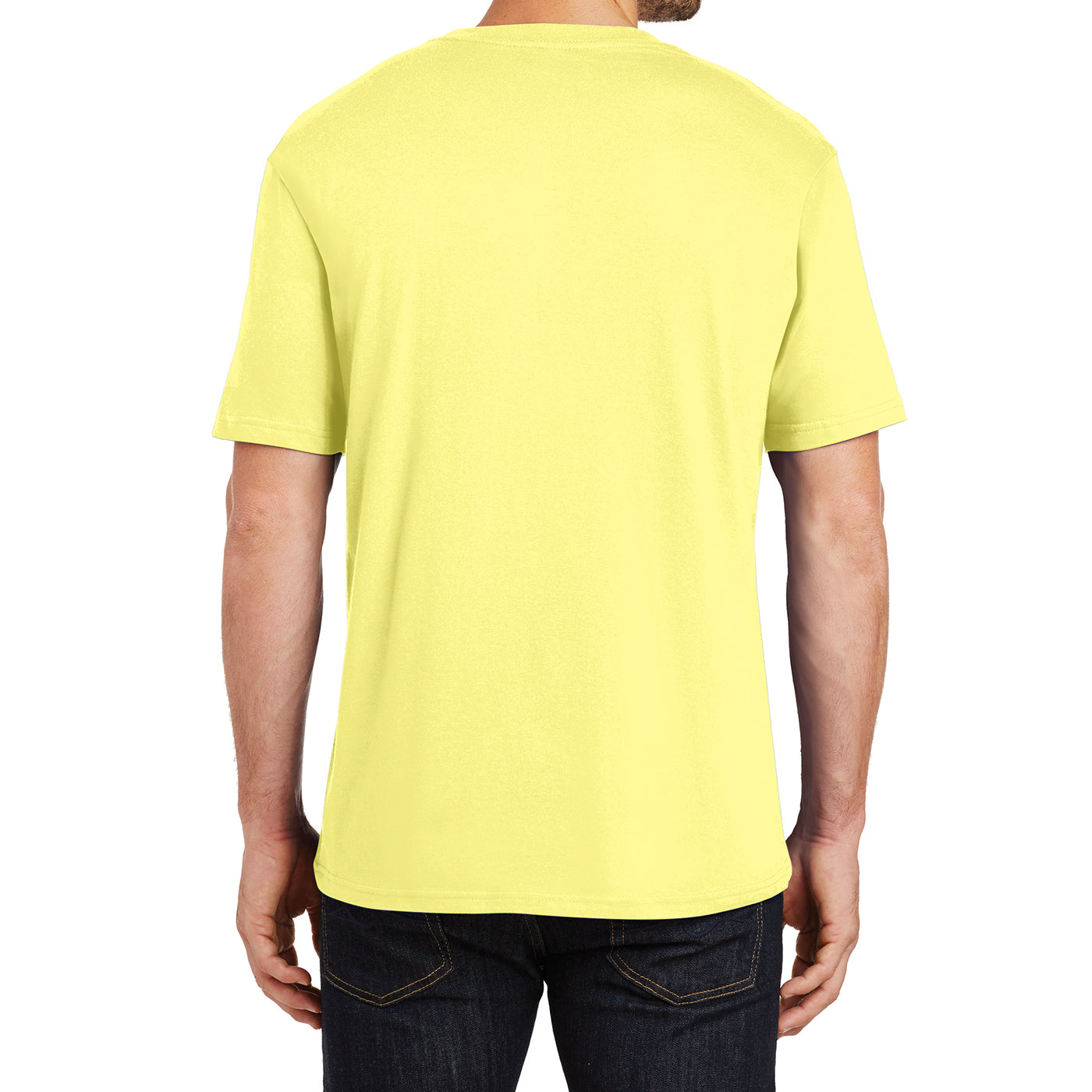 Mens Perfect Weight Crew Tee - Yellow - Back