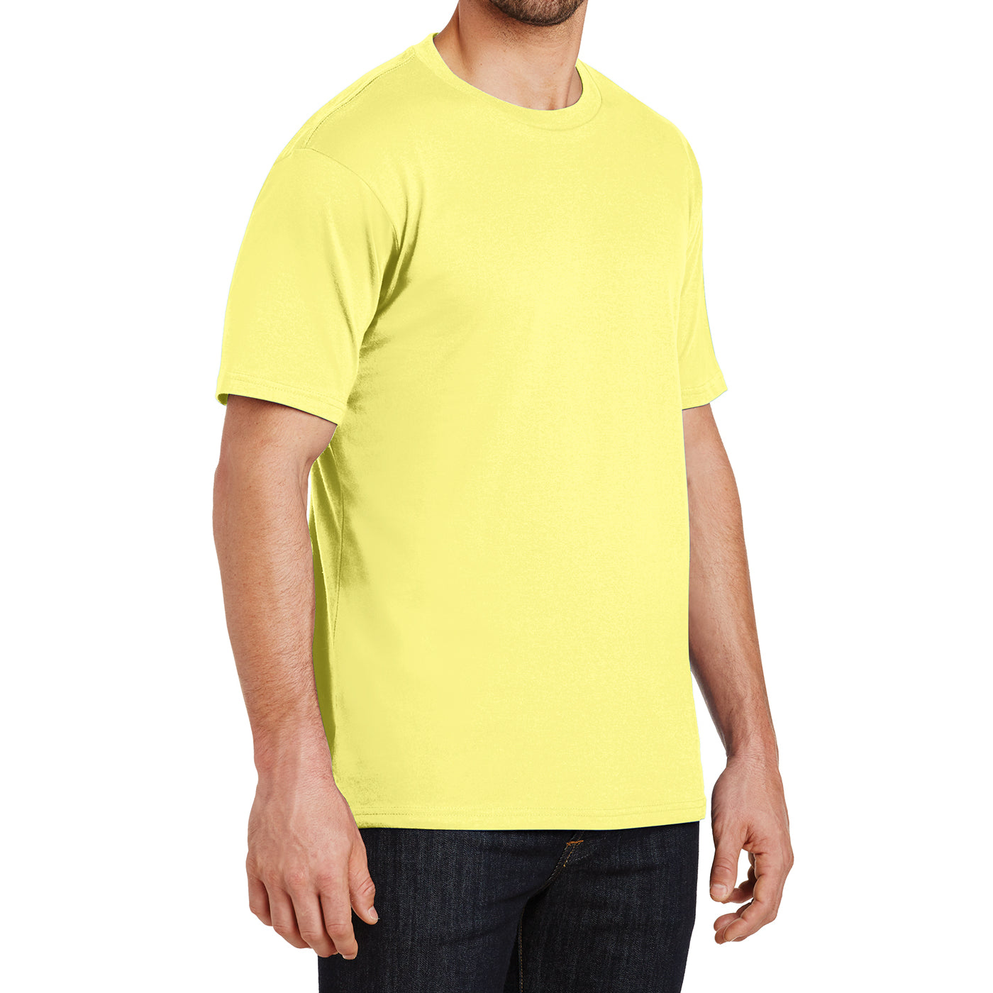 Mens Perfect Weight Crew Tee - Yellow - Side