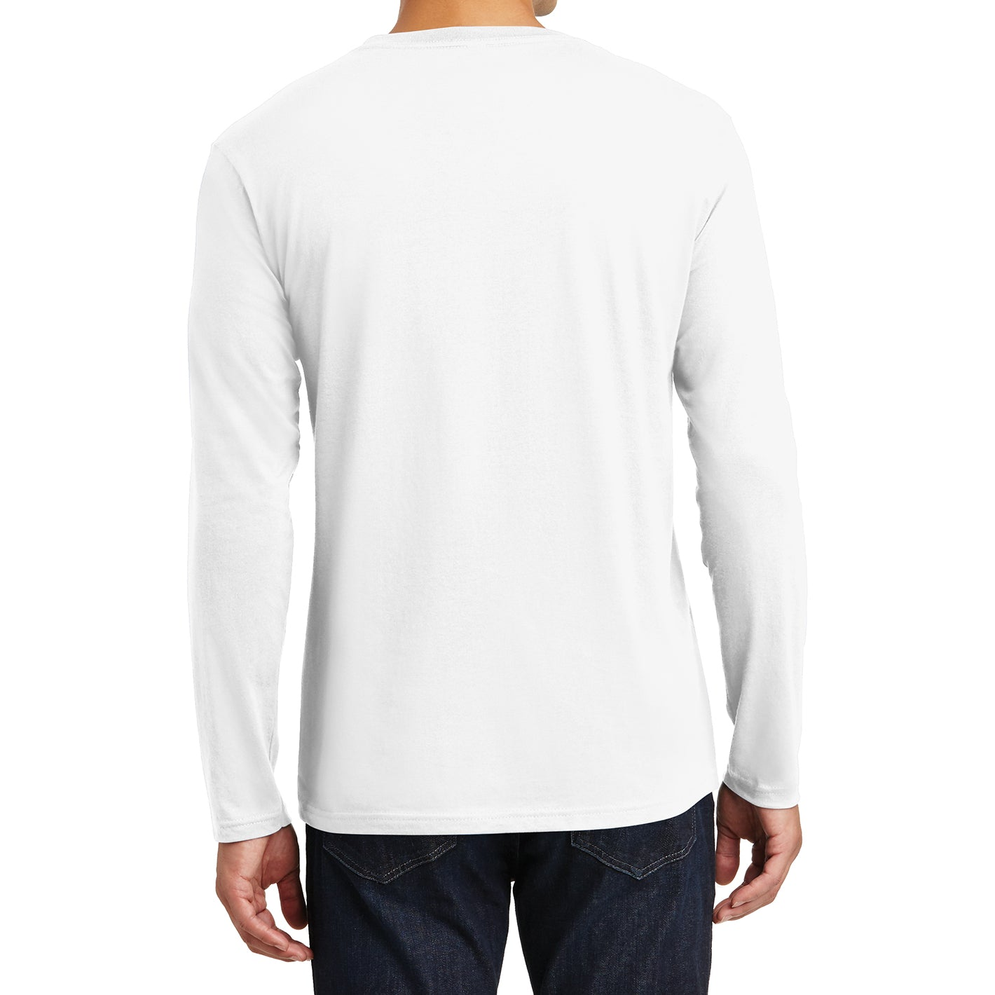 Mens Perfect Weight Long Sleeve Tee - Bright White - Back