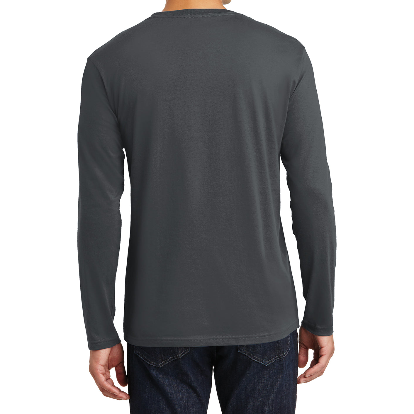 Mens Perfect Weight Long Sleeve Tee - Charcoal - Back