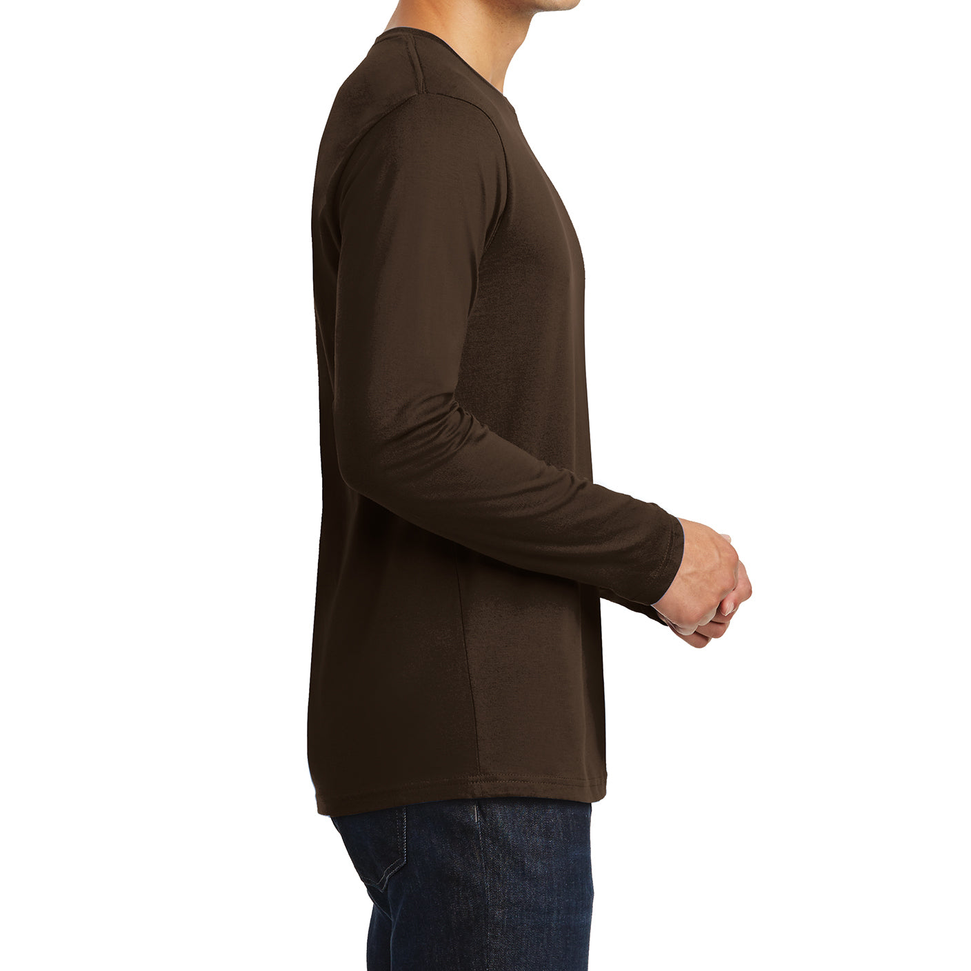 Mens Perfect Weight Long Sleeve Tee - Espresso - Side