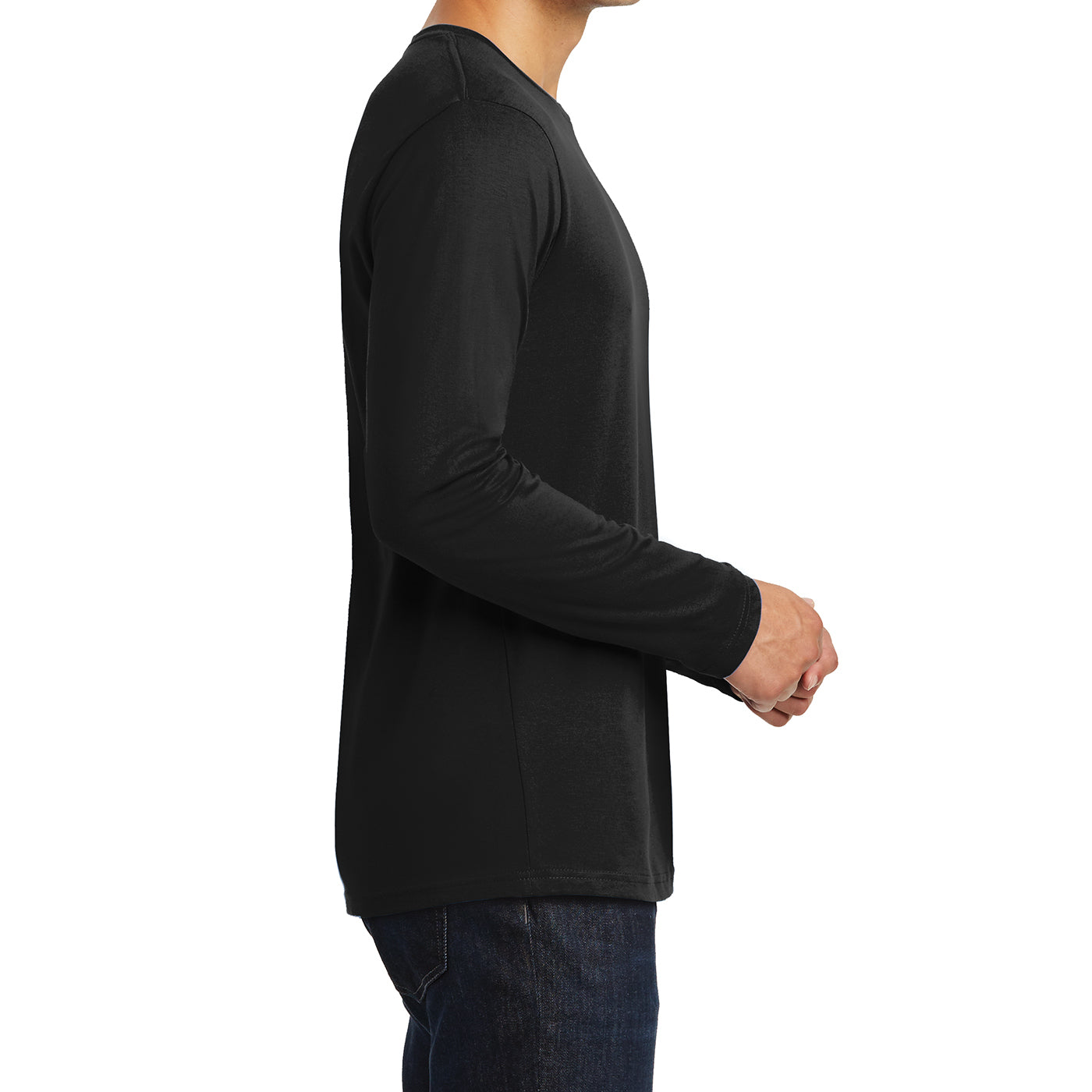 Mens Perfect Weight Long Sleeve Tee - Jet Black - Side