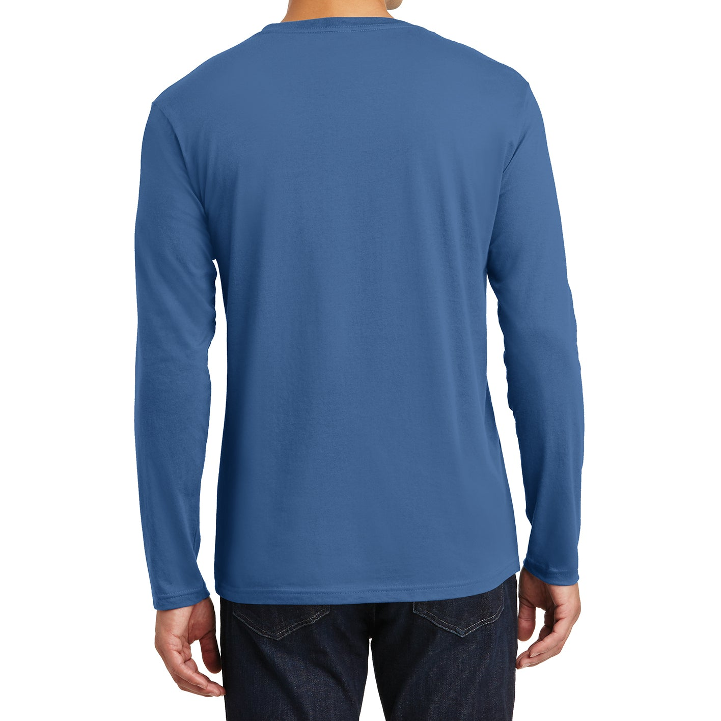 Mens Perfect Weight Long Sleeve Tee - Maritime Blue - Back