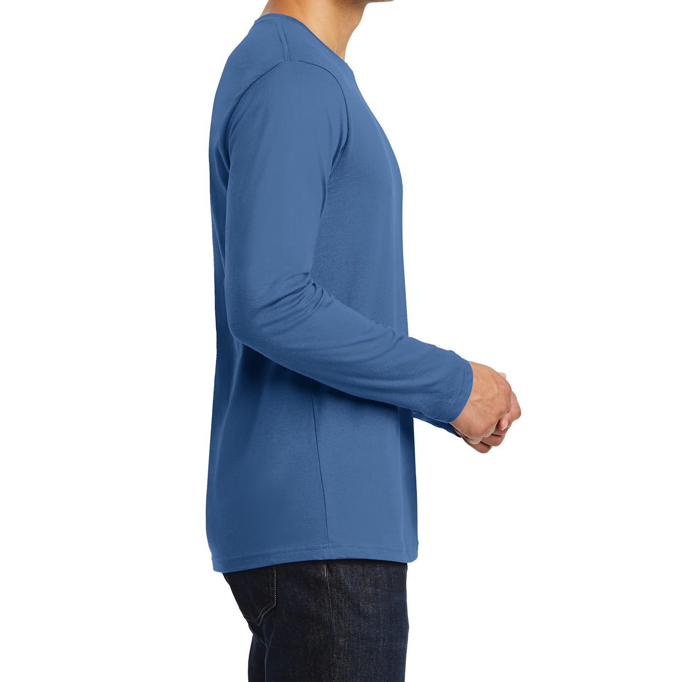 Mens Perfect Weight Long Sleeve Tee - Maritime Blue - Side