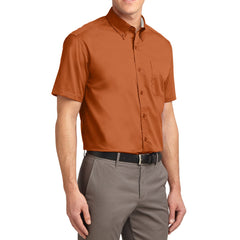 Men's Short Sleeve Wrinkle Resistance Easy Care Button Down Collar Shirt