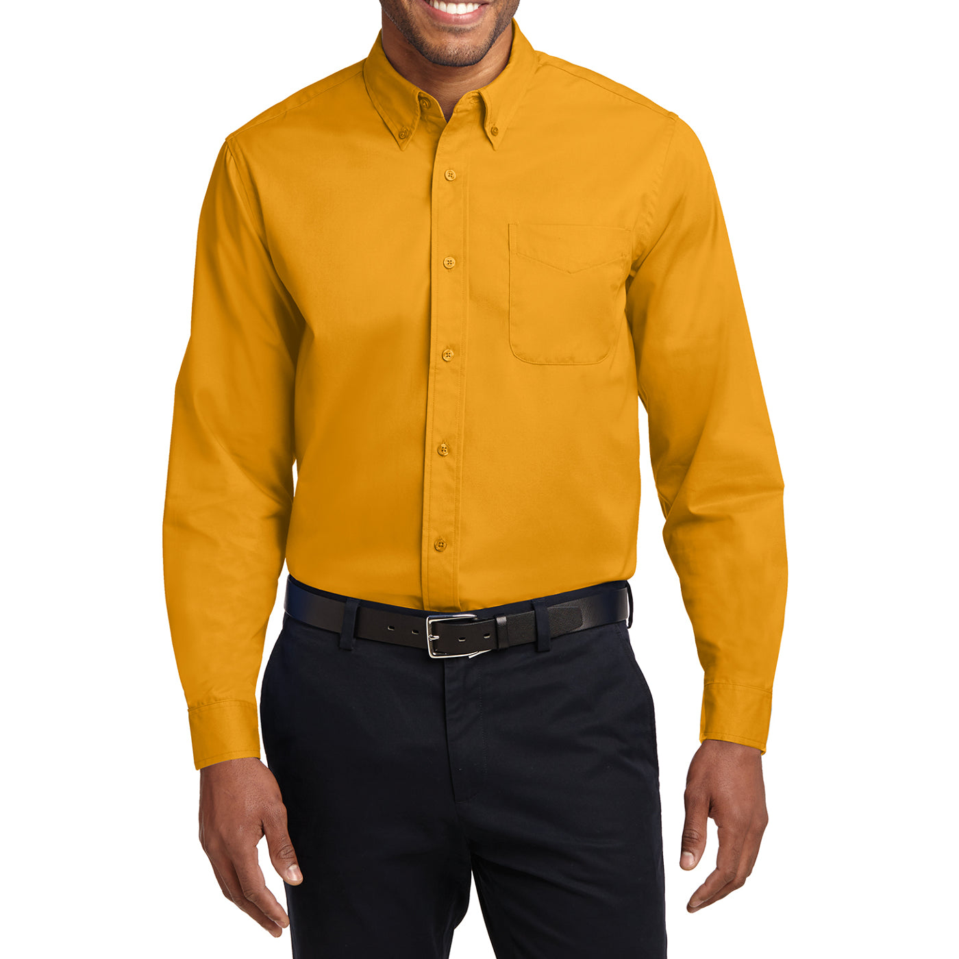 Men's Long Sleeve Easy Care Shirt - Athletic Gold/ Light Stone - Front