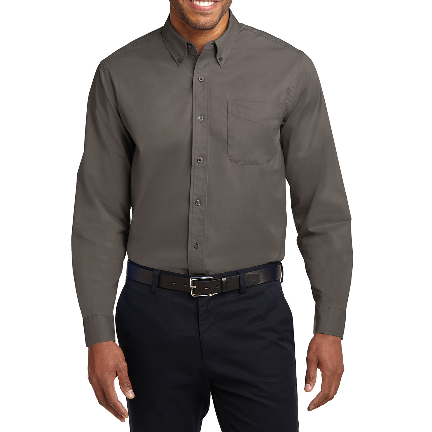 Men's Long Sleeve Easy Care Shirt - Bark - Front