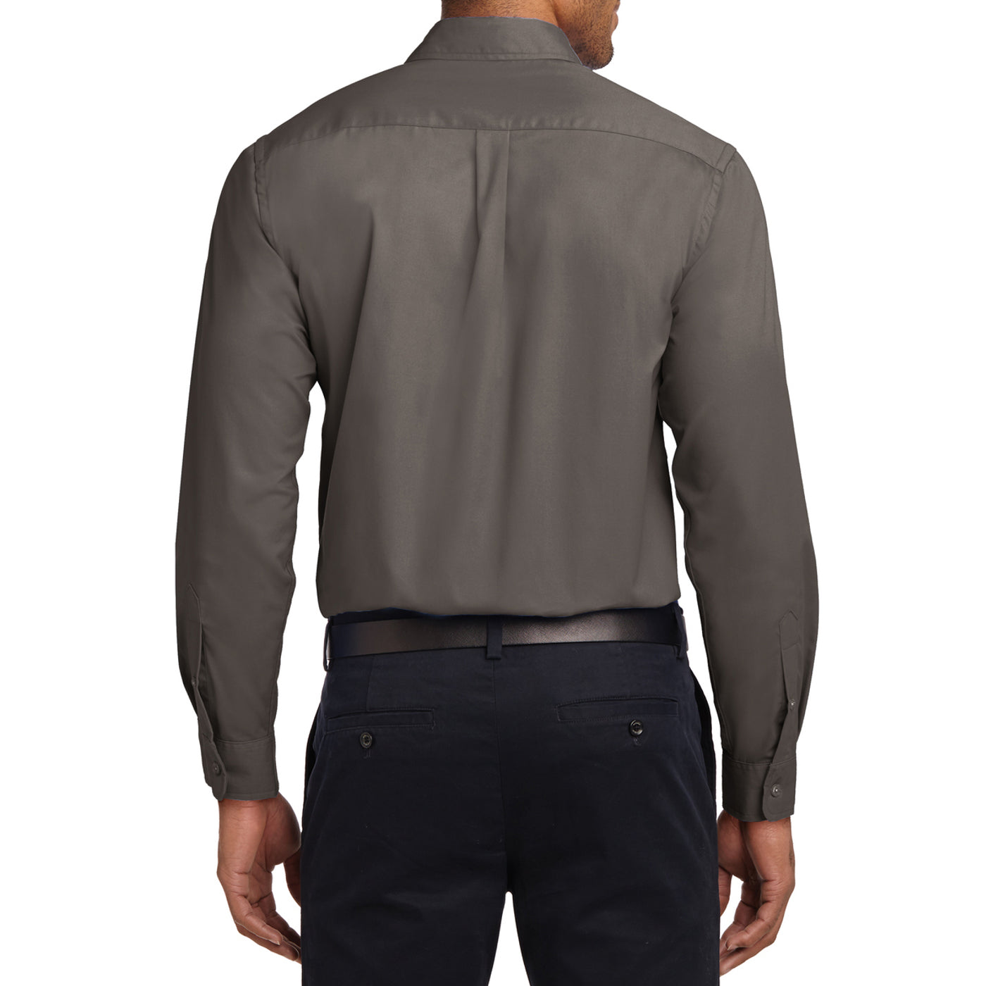 Men's Long Sleeve Easy Care Shirt - Bark - Back