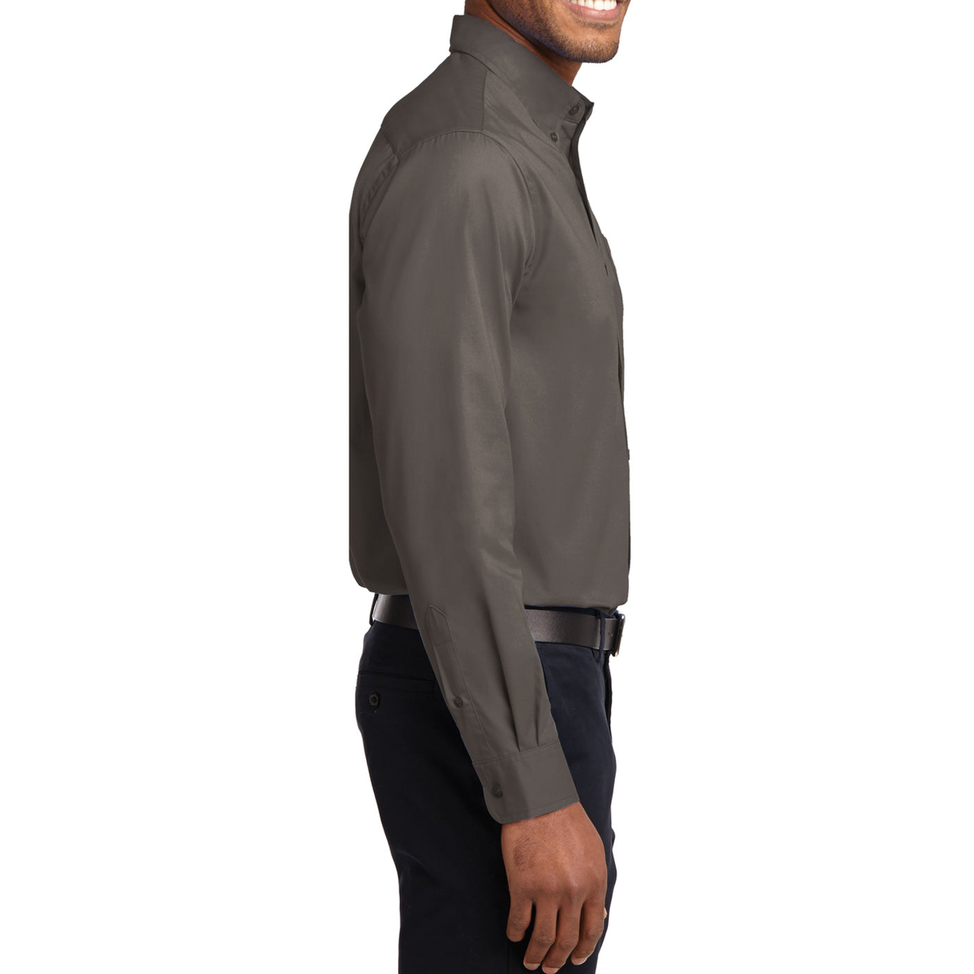 Men's Long Sleeve Easy Care Shirt - Bark - Side