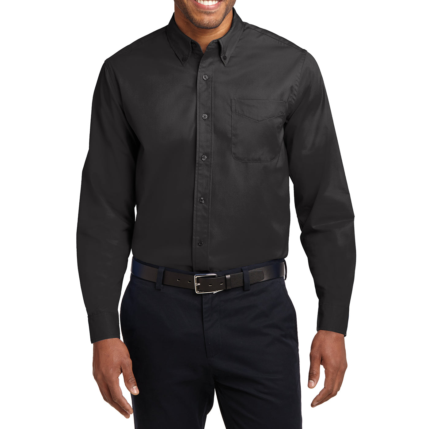 Men's Long Sleeve Easy Care Shirt - Black/ Light Stone - Front
