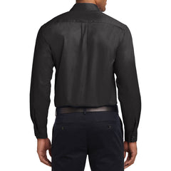 Men's Long Sleeve Easy Care Shirt - Black/ Light Stone - Back