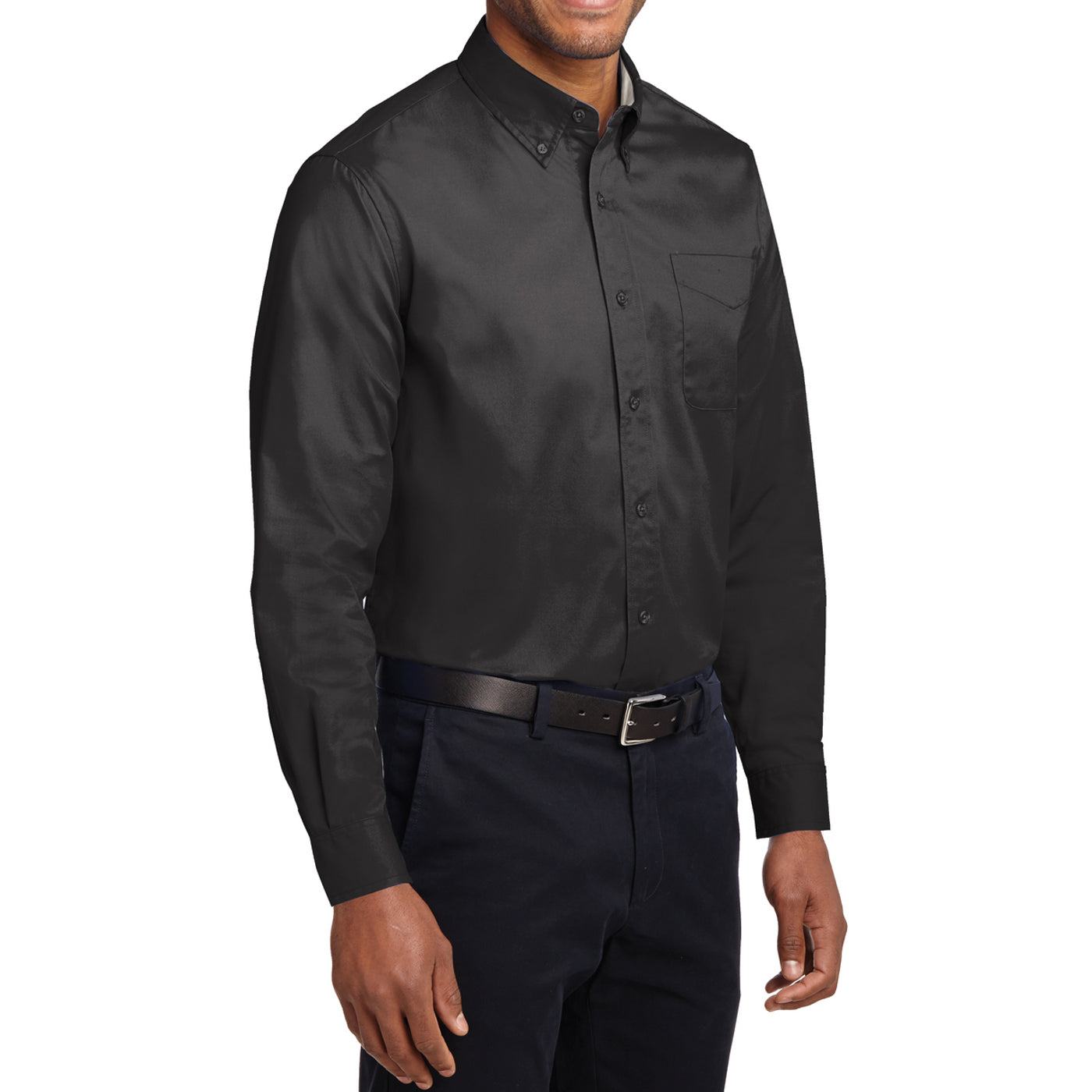 Men's Long Sleeve Easy Care Shirt - Black/ Light Stone - Side